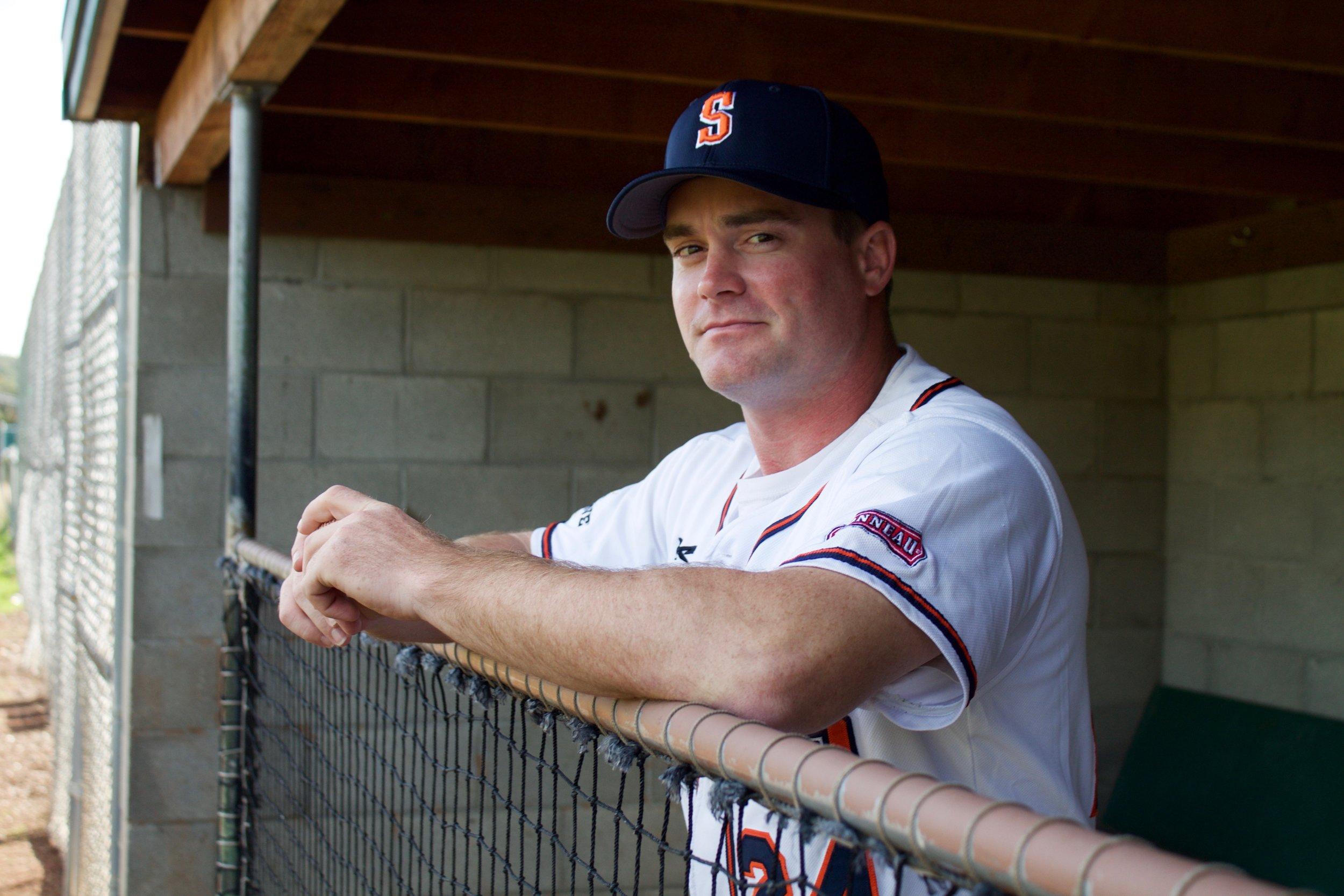 Zack Pace settles into the dugout at Arnold Field, where he'll spend 2018 managing the Sonoma Stompers.