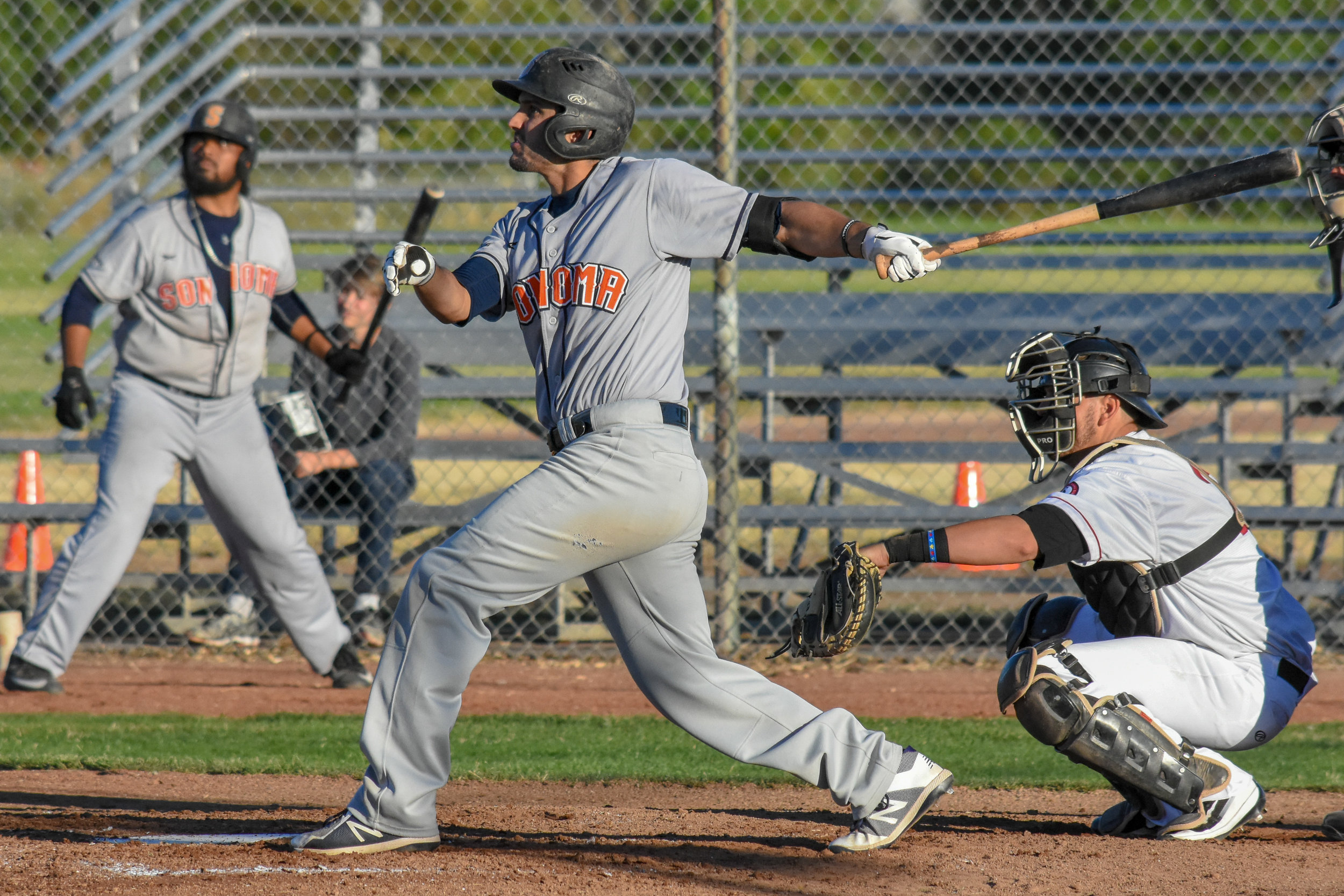 Kenny Meimerstorf follows through on his team-leading 12th home run of the season, a two-run shot in the fourth inning on July 10, 2018 (James W. Toy III / Sonoma Stompers)