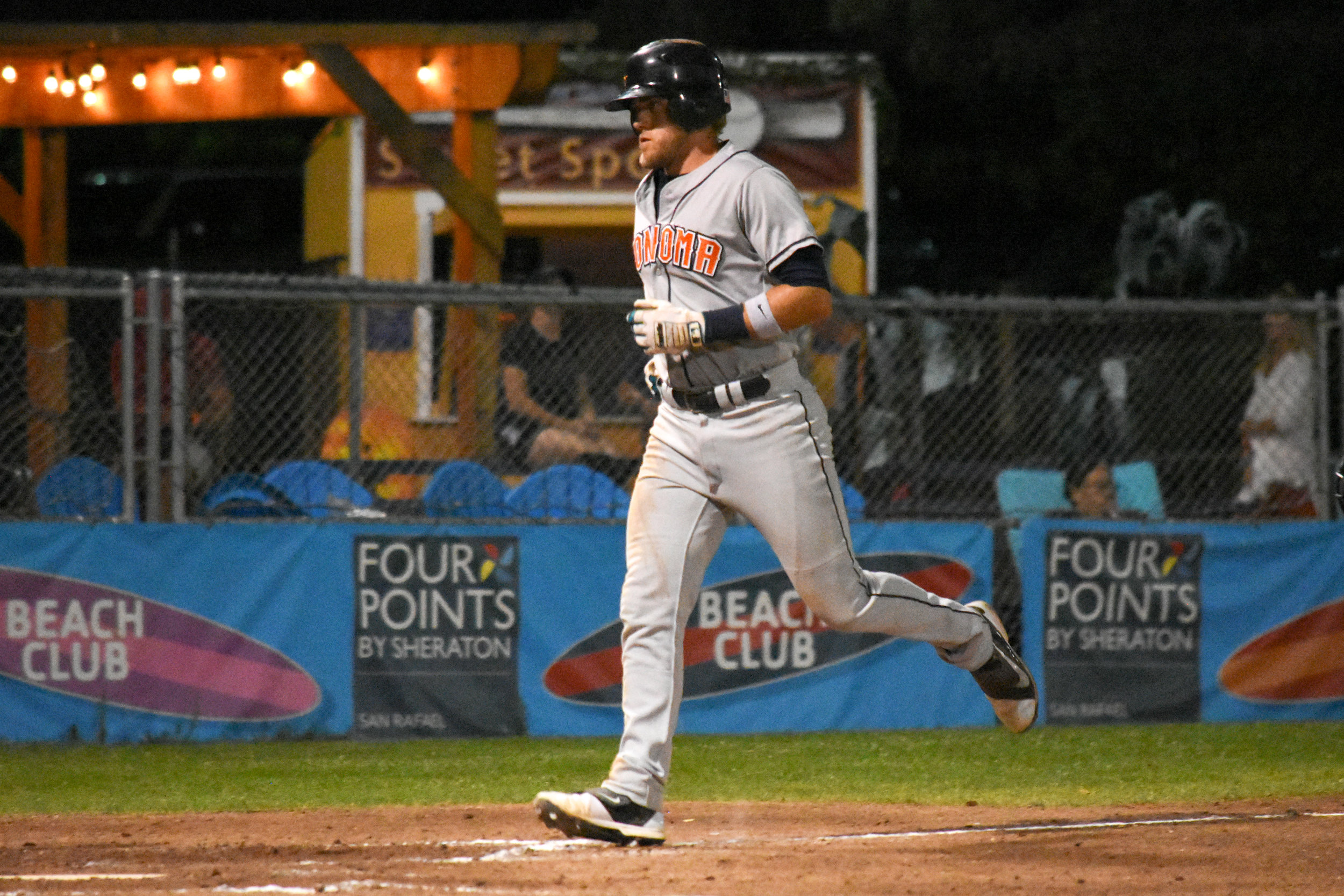 Kevin Farley trots home after hitting back-to-back home runs with Daniel Baptista in the seventh inning of the Sonoma Stompers game against the San Rafael Pacifics, August 9, 2018 in San Rafael, Calif.(James W. Toy III / Sonoma Stompers)