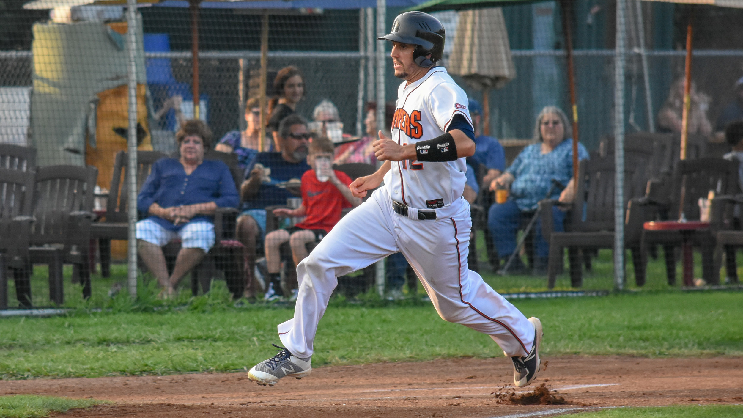 Kenny Meimerstorf rounds third base to score in the second inning of the Sonoma Stompers game against the Martinez Clippers, August 18, 2018 in Sonoma, Calif.(James W. Toy III / Sonoma Stompers)