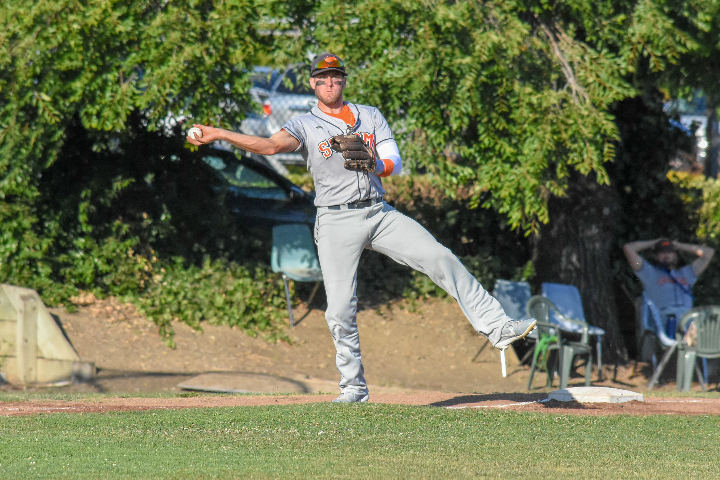 Kevin Farley makes a throw from third base in the Sonoma Stompers game against the San Rafael Pacifics, August 25, 2018 in San Rafael, Calif.(James W. Toy III / Sonoma Stompers)