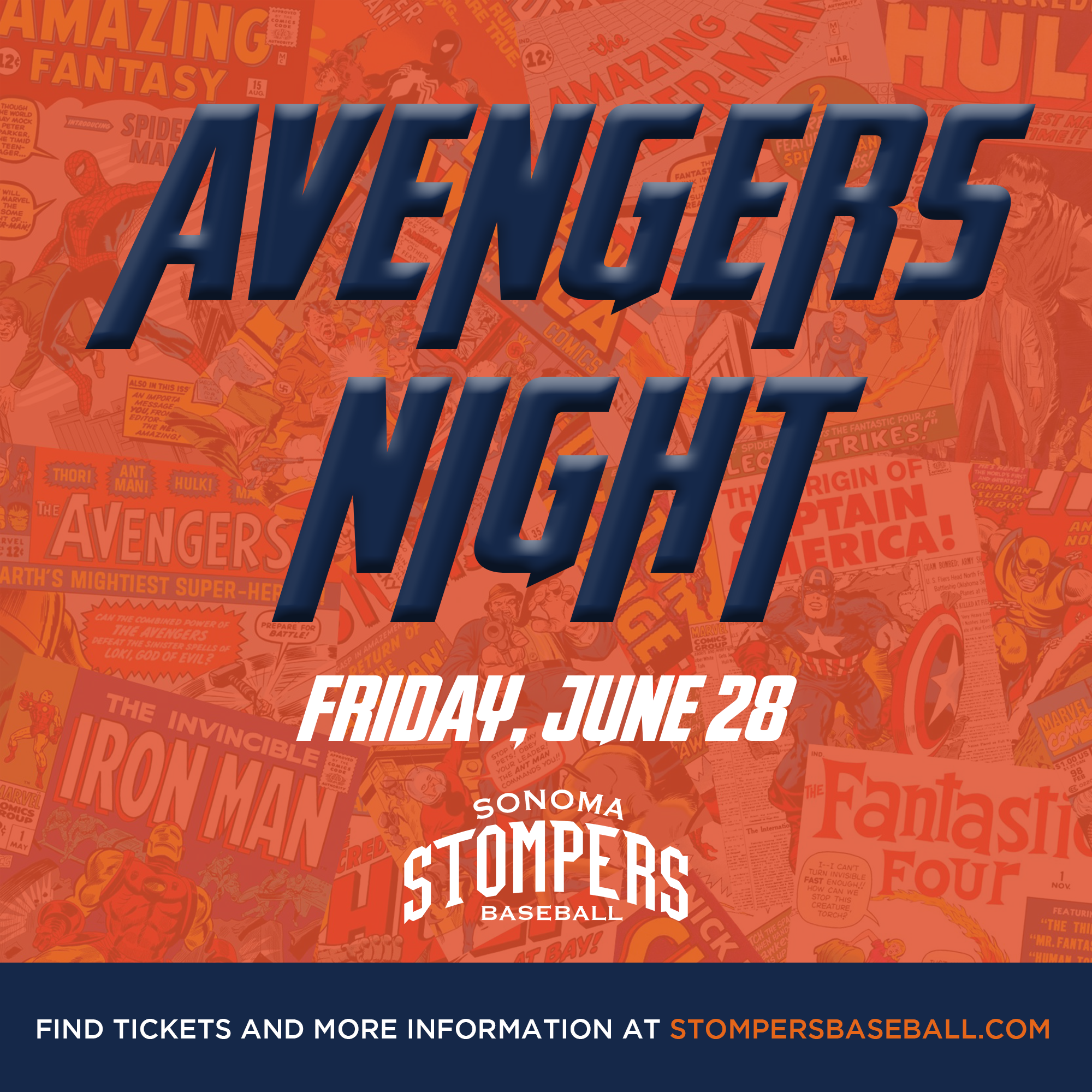 June 28: Avengers Night - Come out to the ballpark for Avengers night! We will have special games and a costume contest!