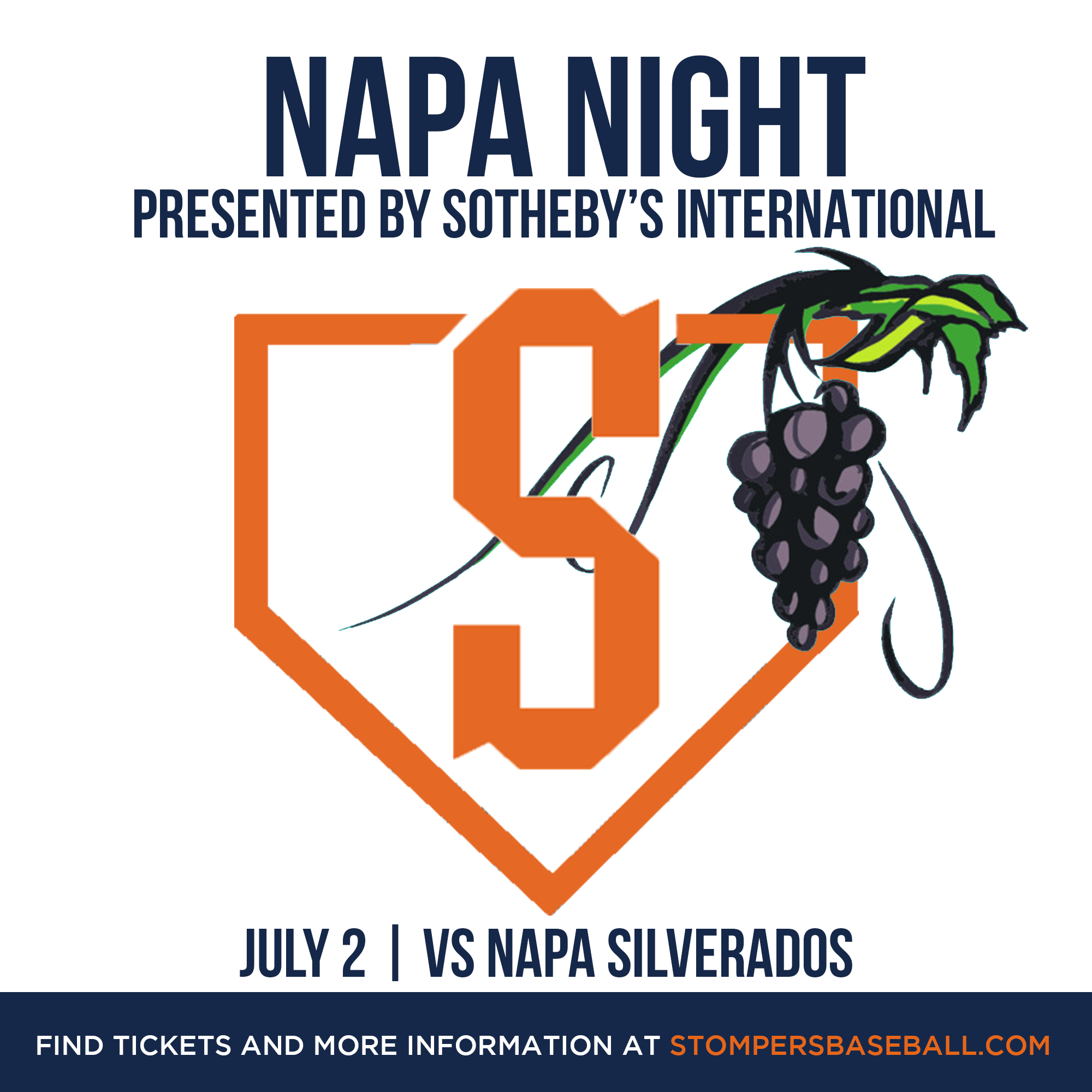 July 2: Napa Night - come out and watch the Stompers take on Napa Silverados for Napa night!