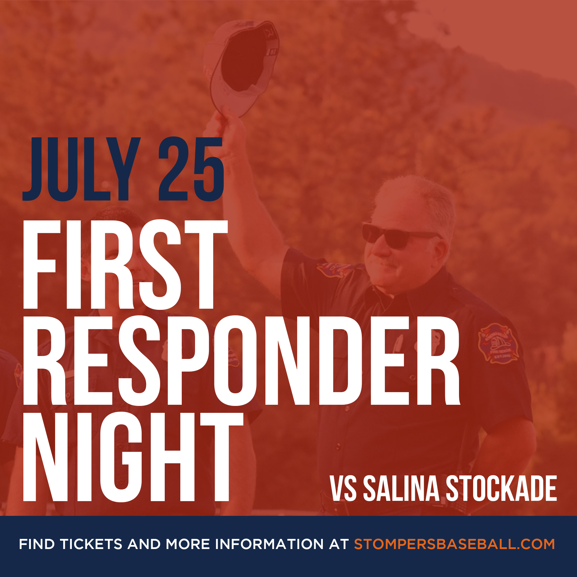 July 25: First Responder Night - Come out to Palooza Park at Arnold field to watch the Stompers take on the Salina Stockade and honor the first responders in our community!
