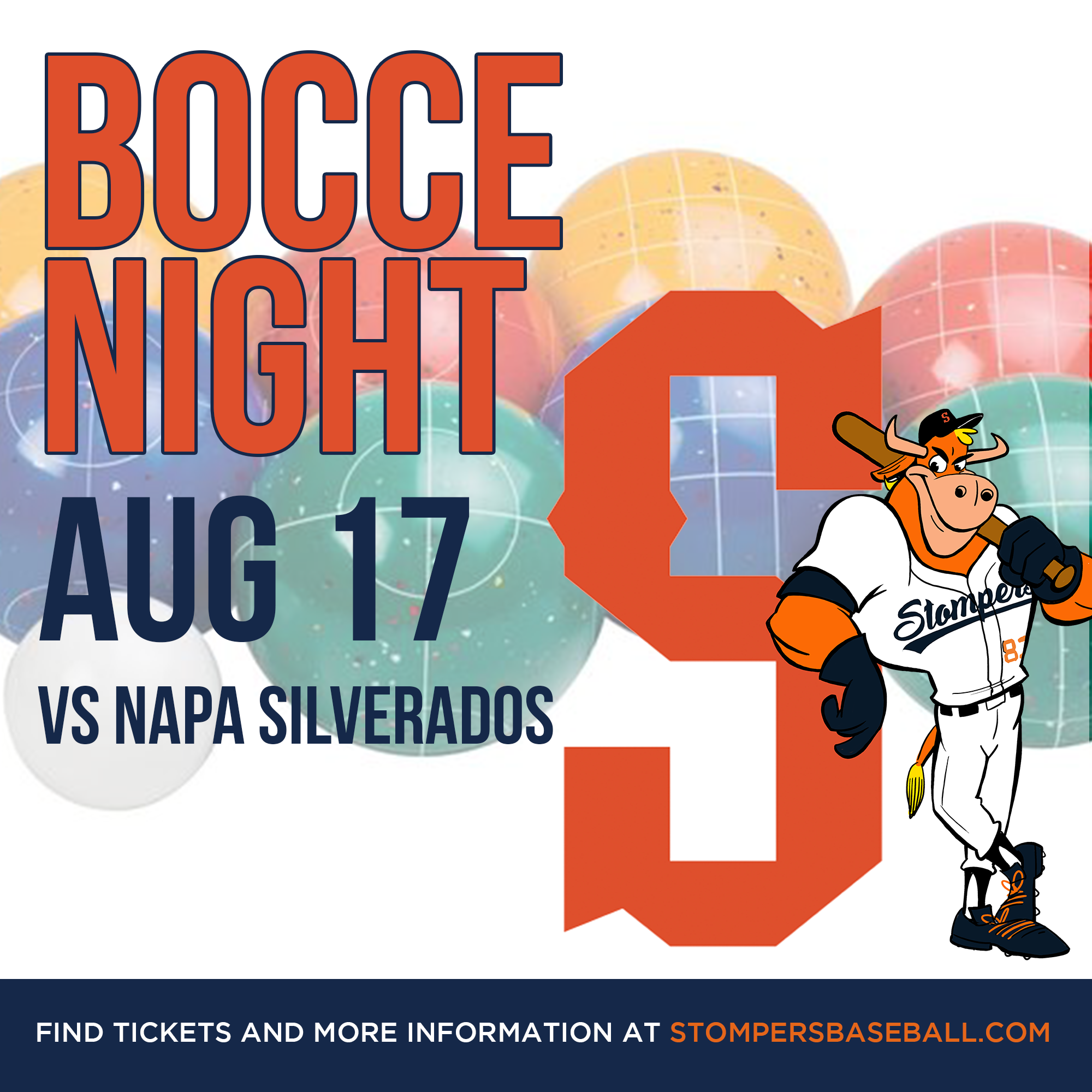 Aug 17: Bocce Night - Bocce and baseball go hand in hand! Come out to Palooza Park at Arnold Field for Bocce Night!