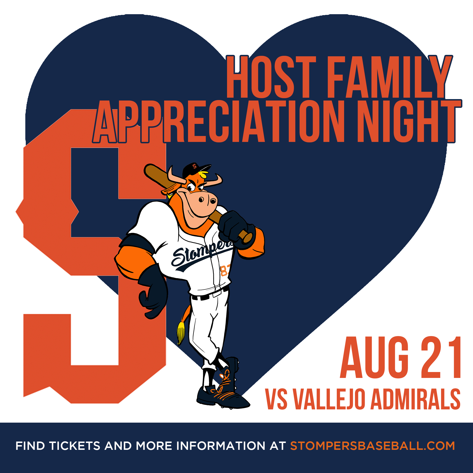 Aug 21: Host Family Appreciation Night - The Stompers wouldn't survive without the support of out host families. Come out as we honor them!