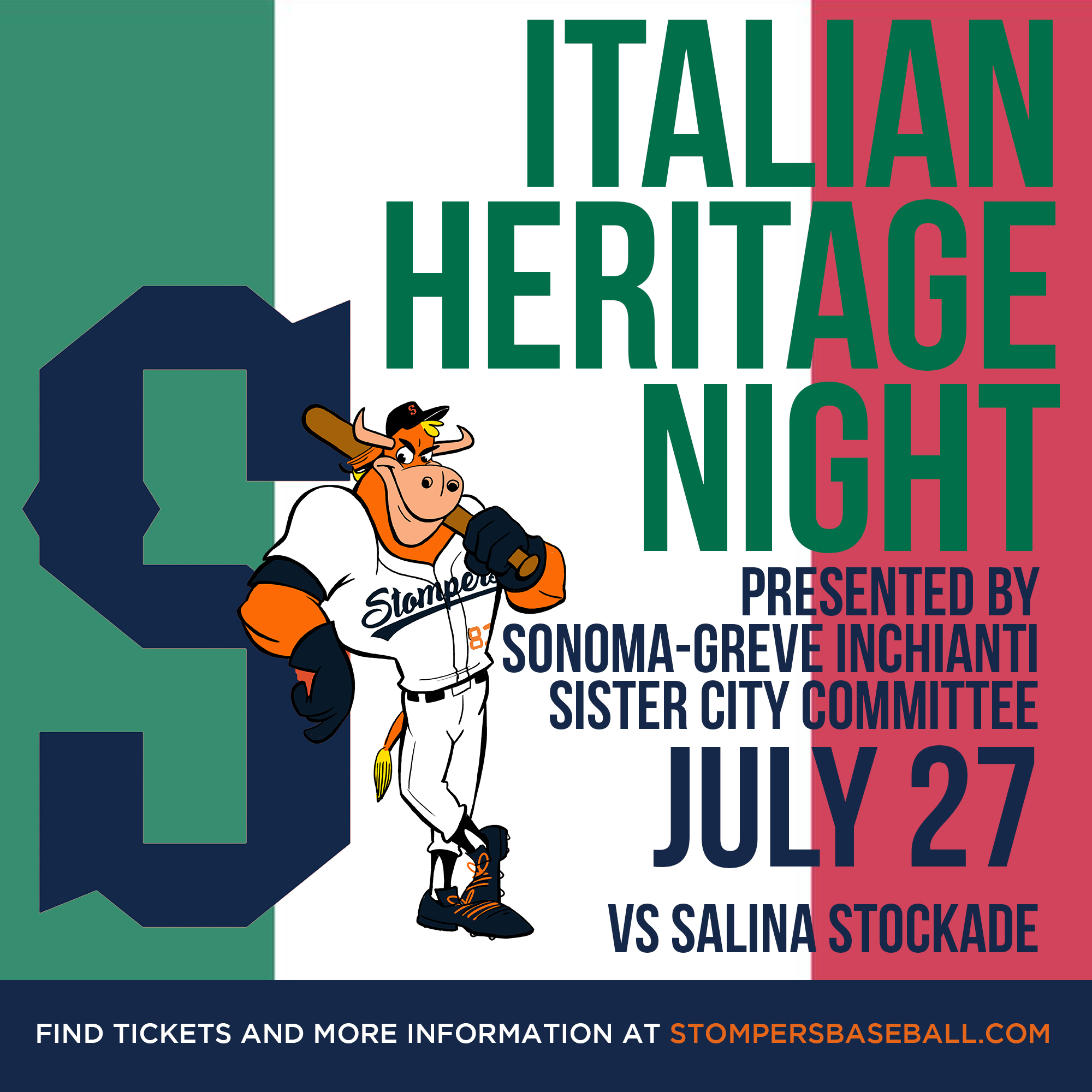 July 27: Italian Heritage Night - Come out for Italian Heritage Night presented by Sonoma Greve! We will have special fun and games for our fans!