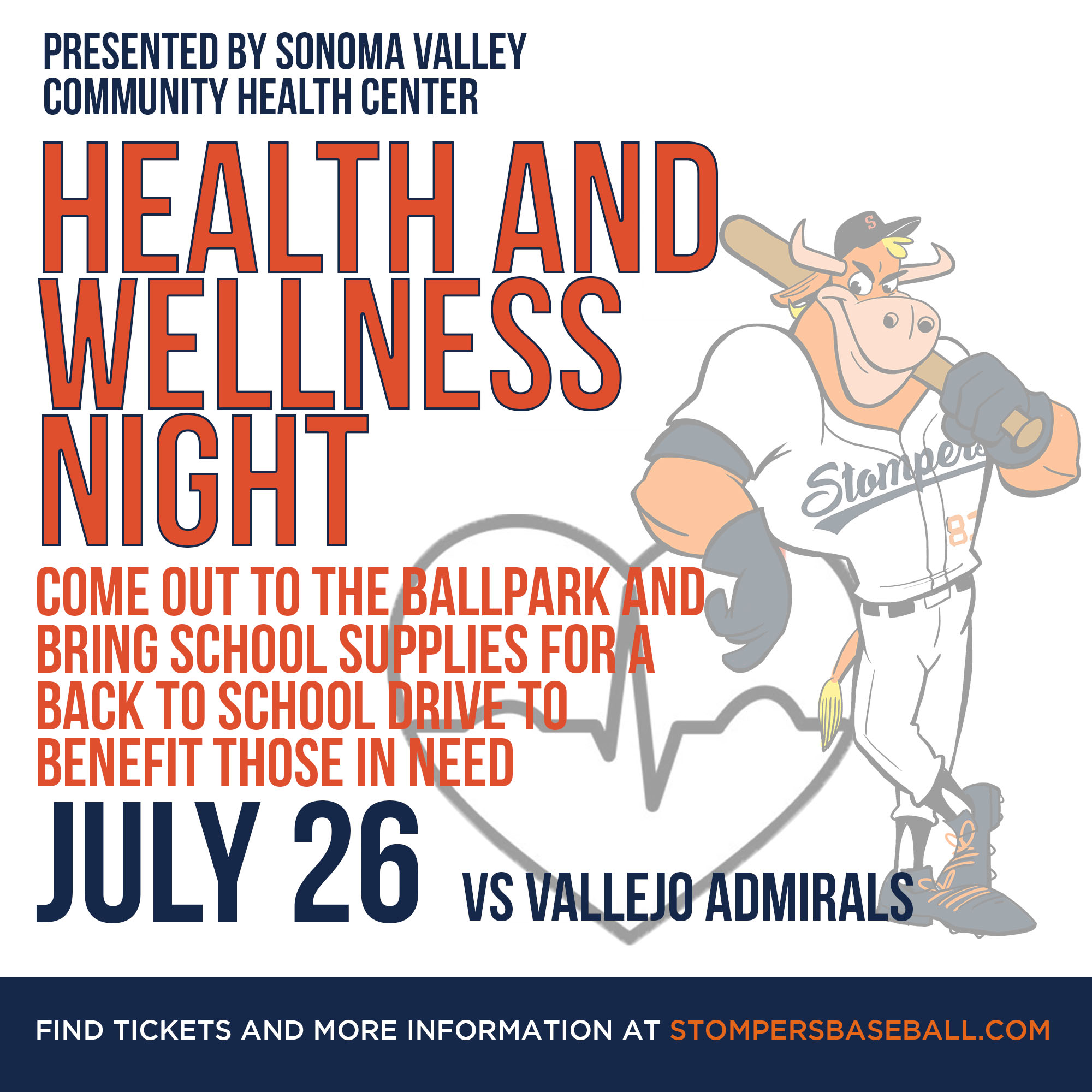 July 26: Health and Wellness Night - Health and Wellness Night at Palooza Park at Arnold Field presented by Sonoma Valley Health Community Center. We will also be having a drive and collecting school supplies for students!