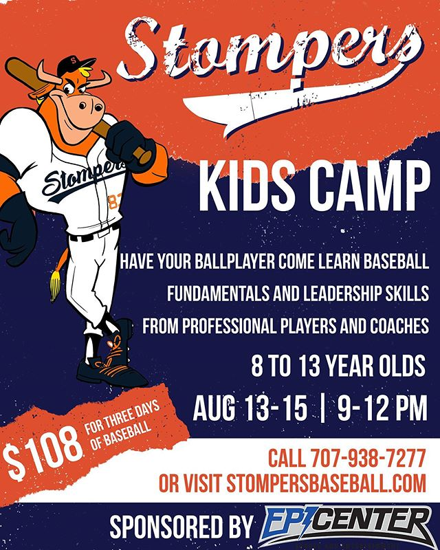 Have your ballplayer come learn baseball fundamentals from your Sonoma Stompers! More info can be found at stompersbaseball.com  #stompon