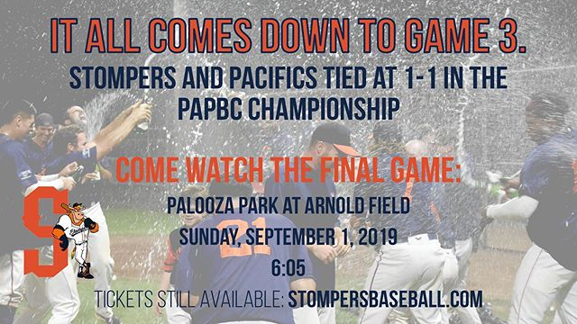Championship Game #3  Game Start: 6:05pm  Location: Palooza Park at Arnold Field  Ticket link in the bio! ☝️