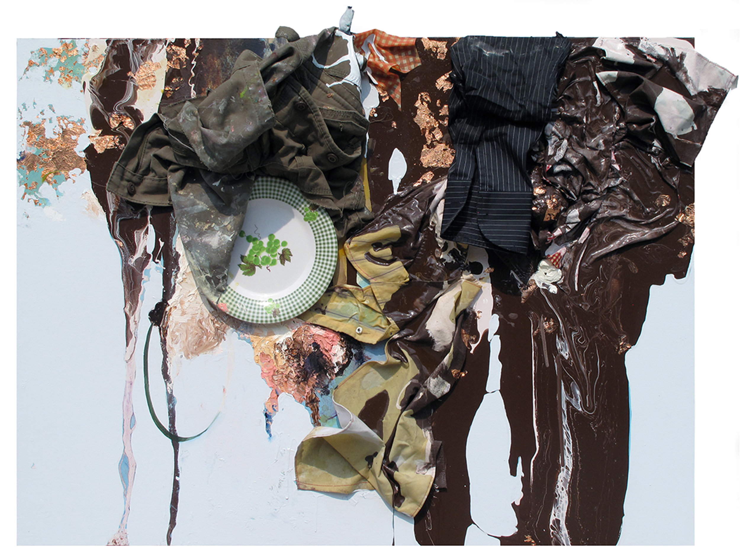 greenhowiwantyougreen... verdeluna, 2013                                                   30 x 40 inches.                                                                                                                      Oil, enamel, costume, gold leaf and plate on birch panel.