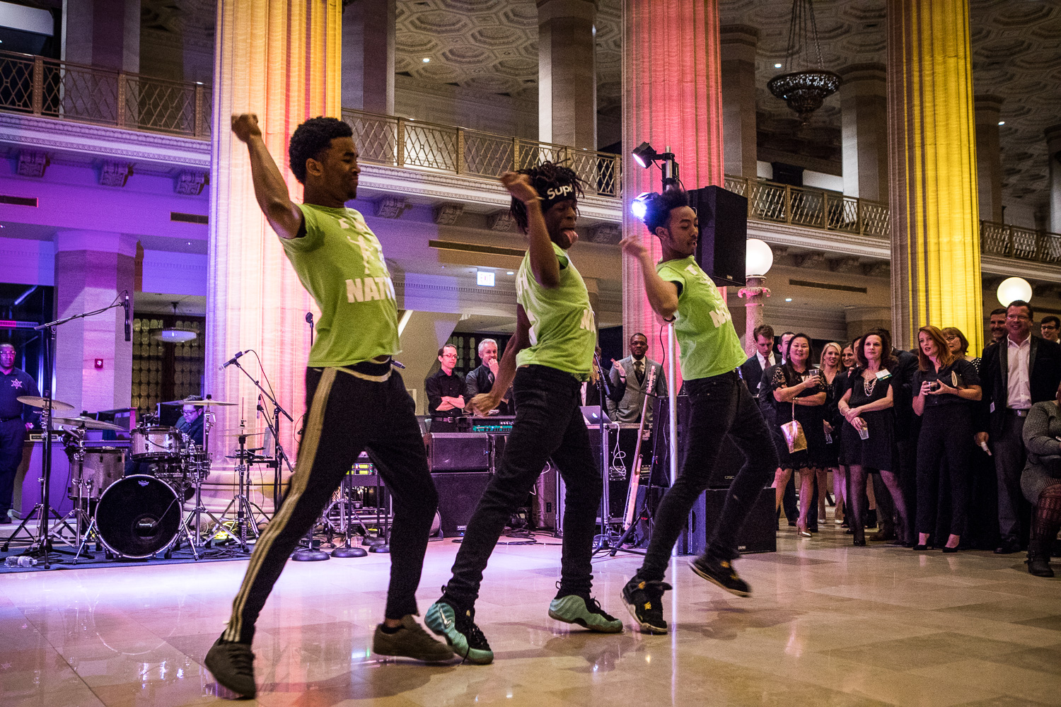 T-up nation, a dance group comprised of teens from cyc-elliott donnelley youth center in bronzeville, performs at shake & stir.