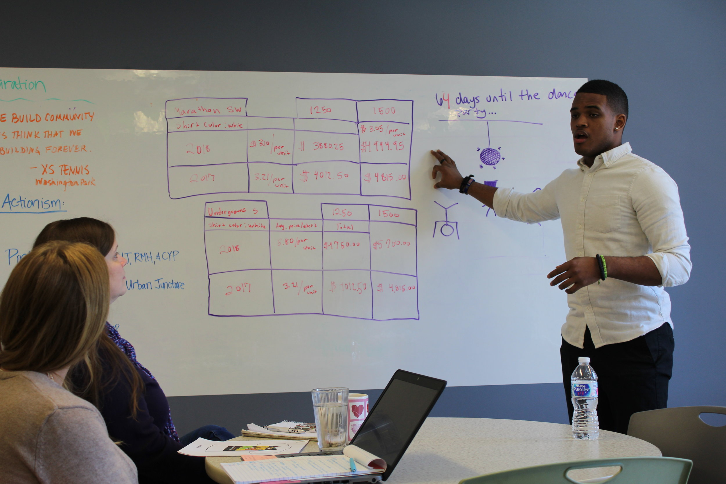 Sean, a CYC-Elliott Donnelley Youth Center teen, walks the executives at Chicago Cares through the business plan the CYC Young Entrepreneurs had developed.