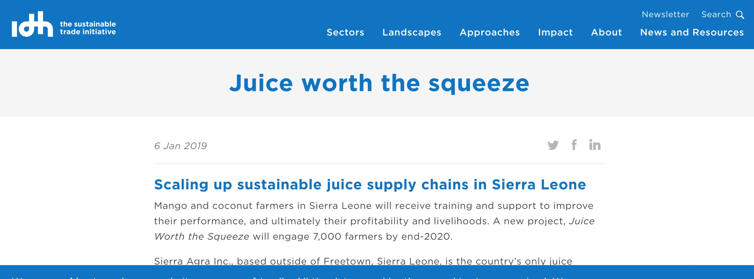 IDH's (The Sustainable Trade Initiative) featured article. Click  here  to see the full webpage.