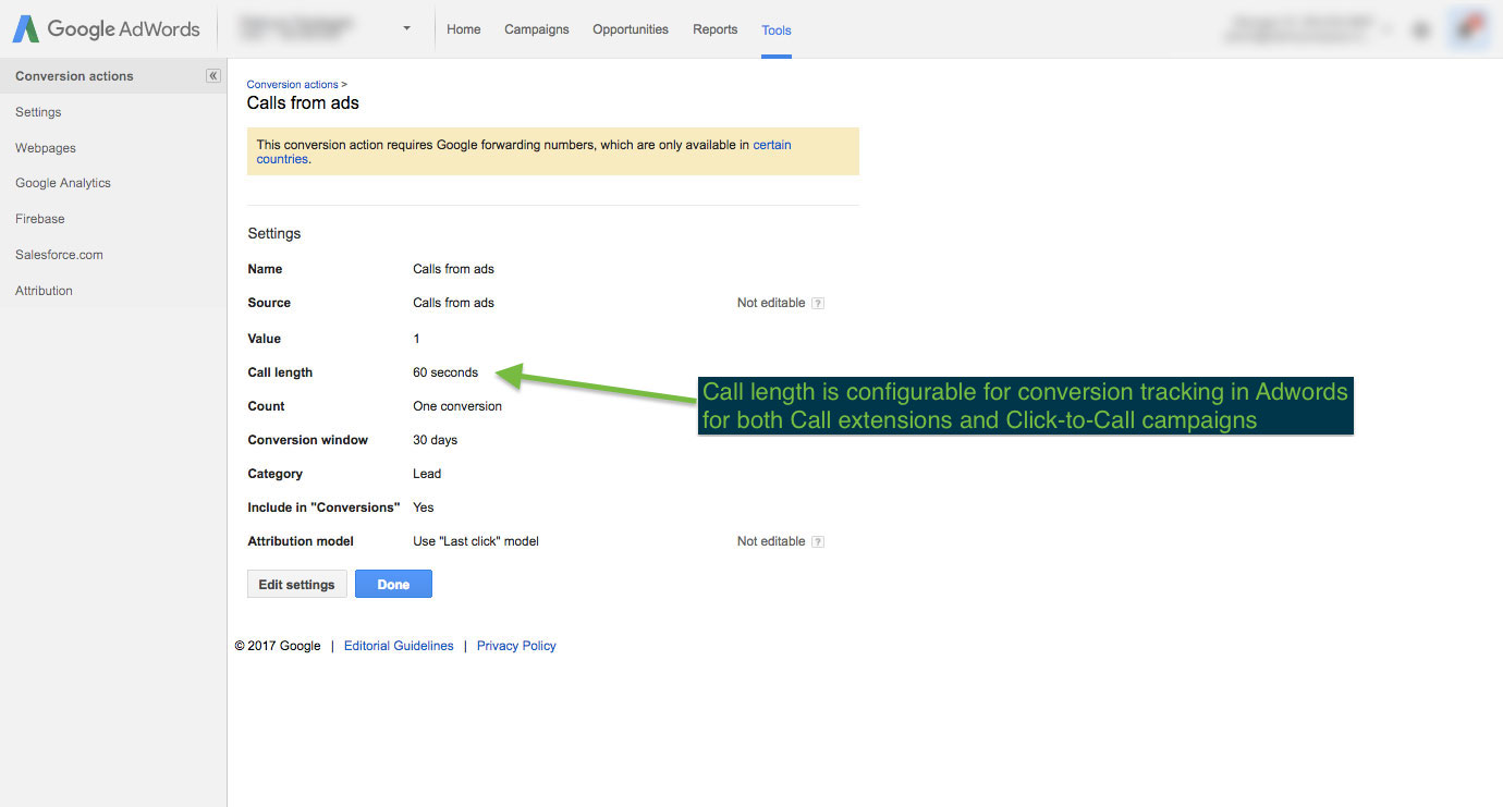 Call length is configurable for conversion tracking in Adwords for both Call extensions and Click-to-Call campaigns