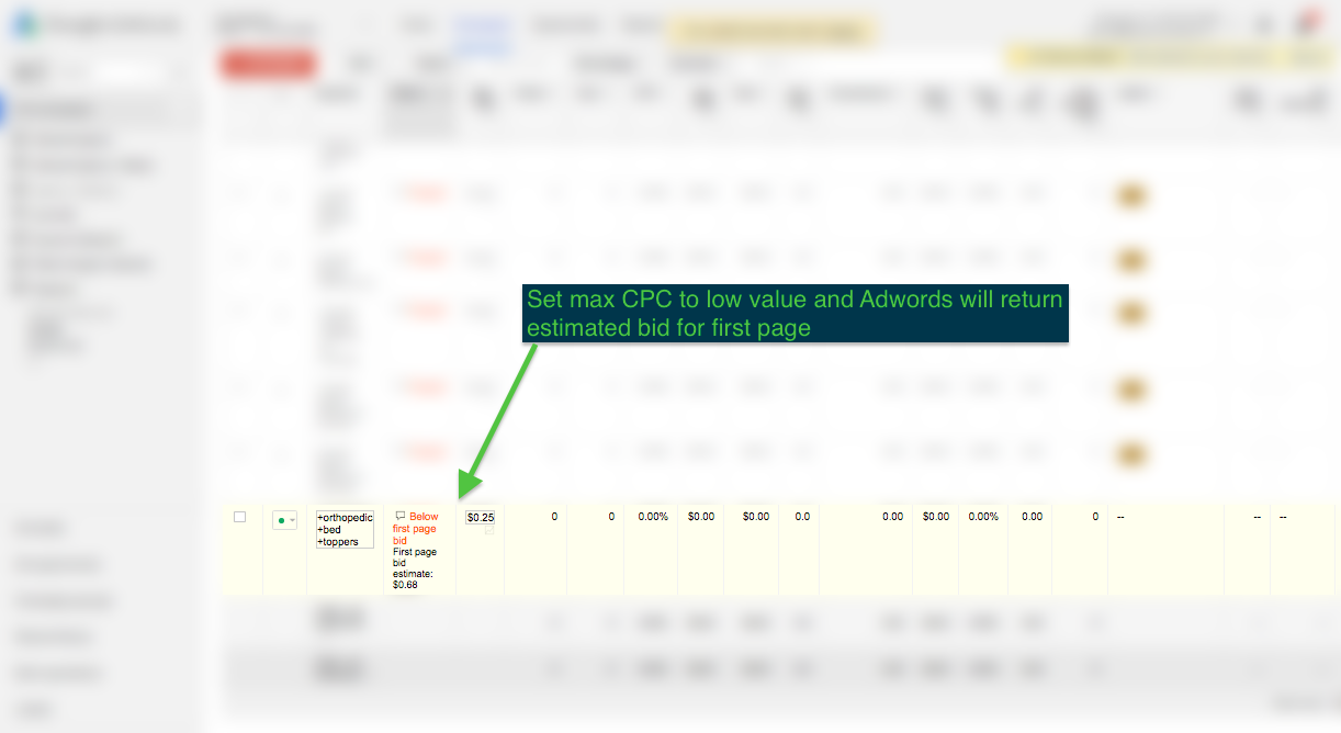 Use Adwords 1st page bid estimates to your advantage in the keyword research phase