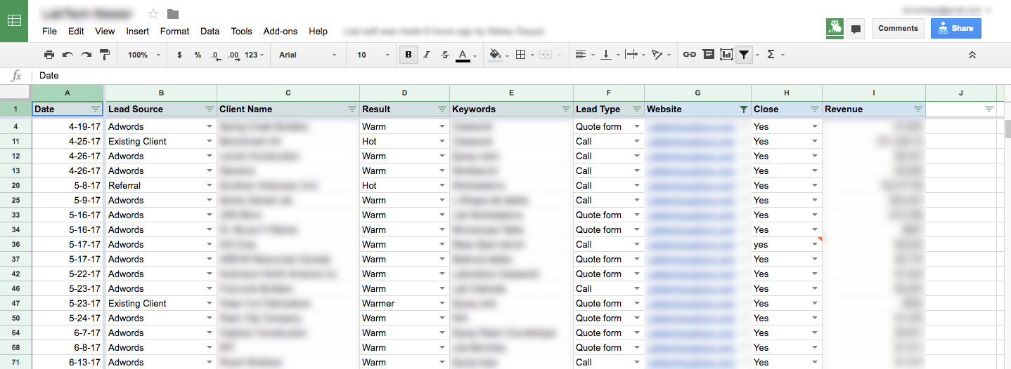 Lead tracking using Google Sheets