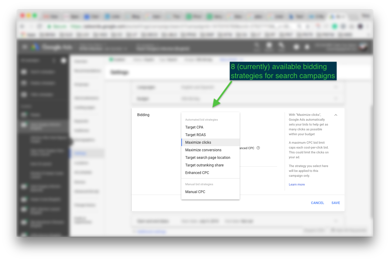8 (currently) avaialble bidding strategies in Google Ads
