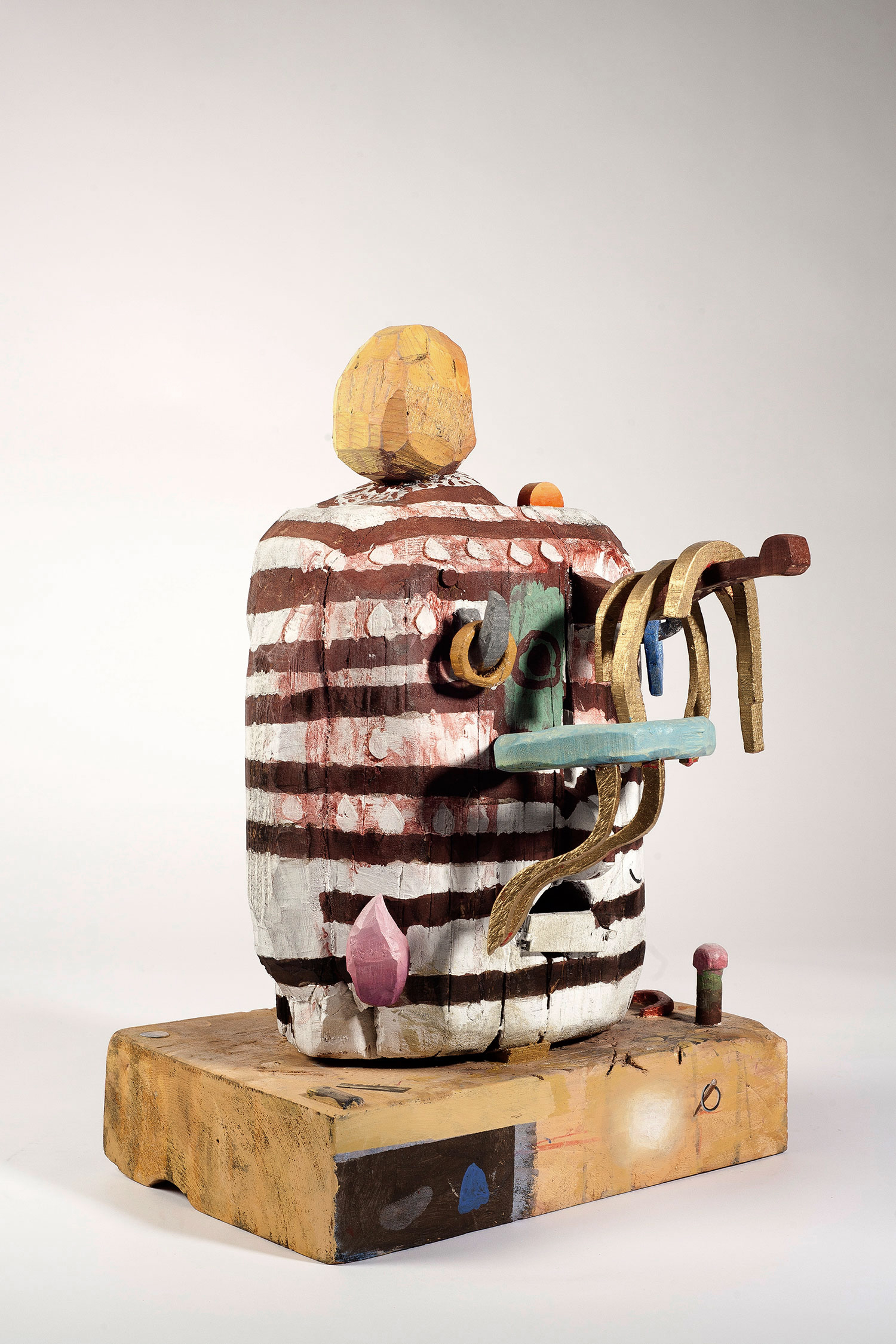 Jewelry holder with stripes, wood and paint,20x14x9 inches, 2016.
