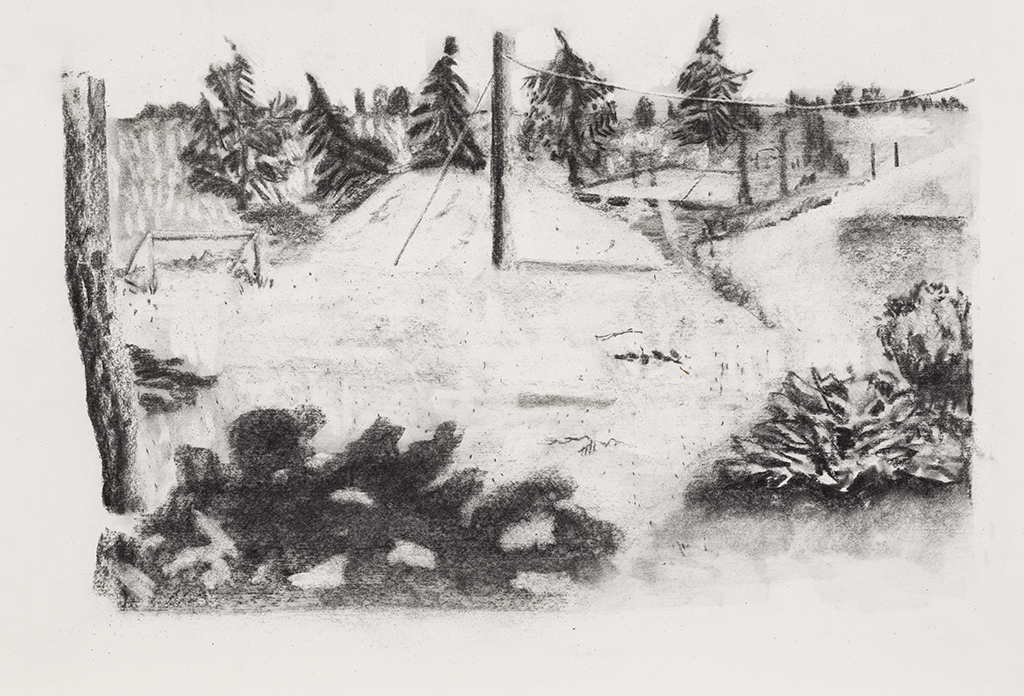 St-Barnabé sud, charcoal on paper,15x21 inches,2014