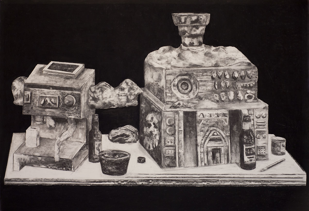 Machine à café et Musée, charcoal on paper, 22x48 inches, 2016