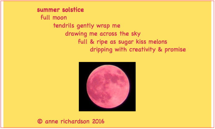 """Poem that """"came at me"""" during a walk at the time of the recent summer solstice."""