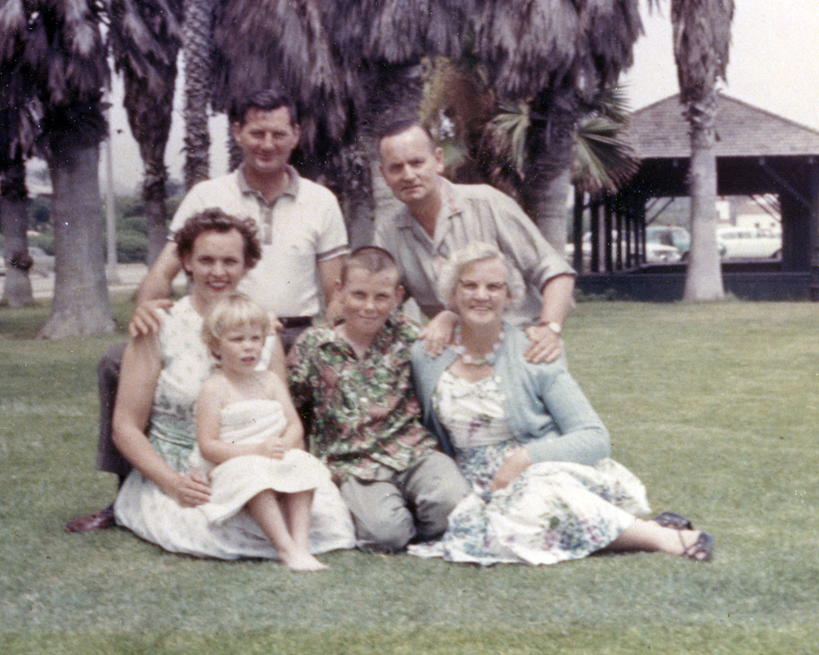 Most likely Santa Barbara, CA, circa 1962. My father, mother, brother, maternal grandparents and three-year old self