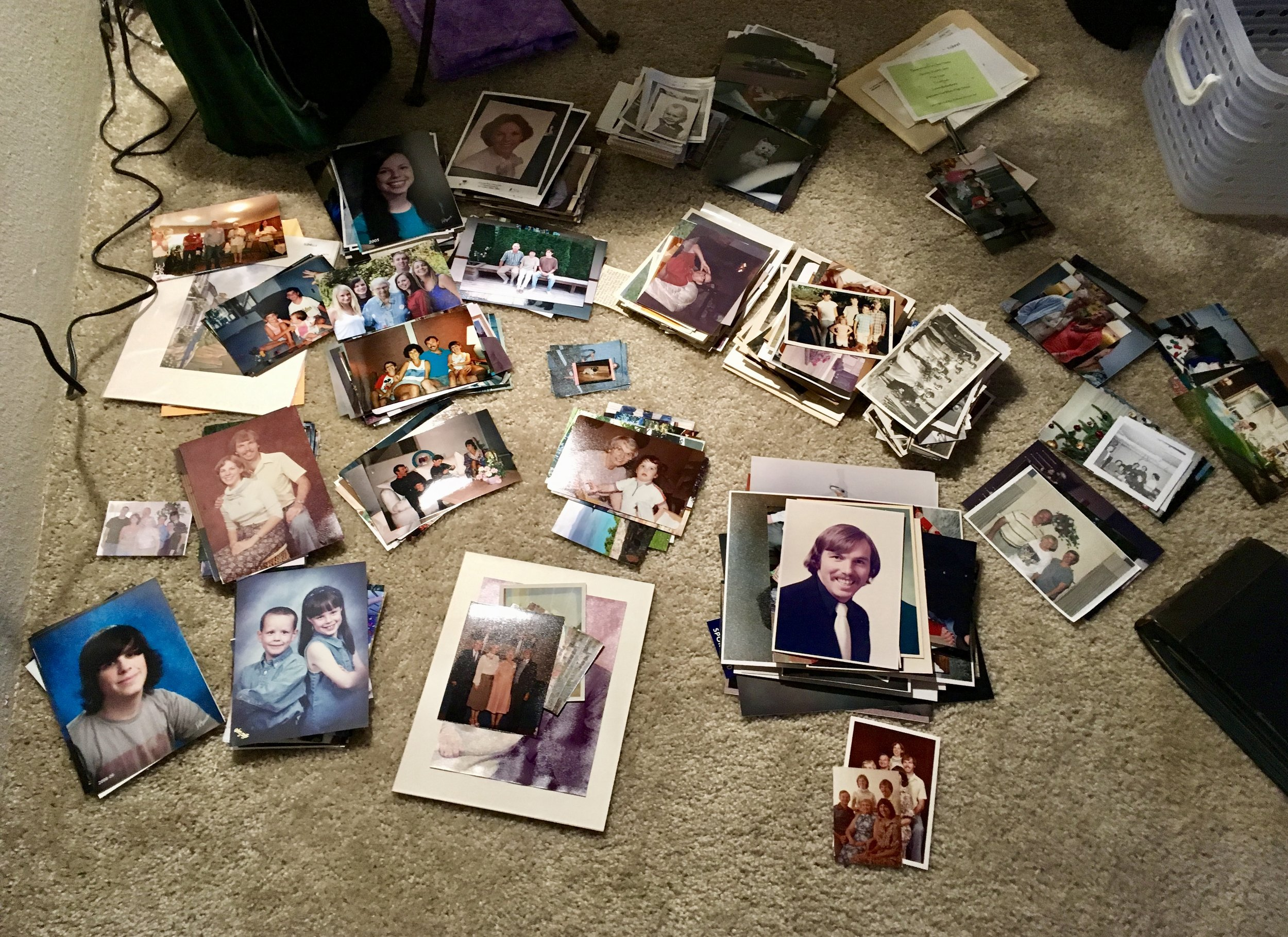 "The ongoing process of organizing piles of photos (and there are more!) Scanning many into the ""infinite"" cloud."