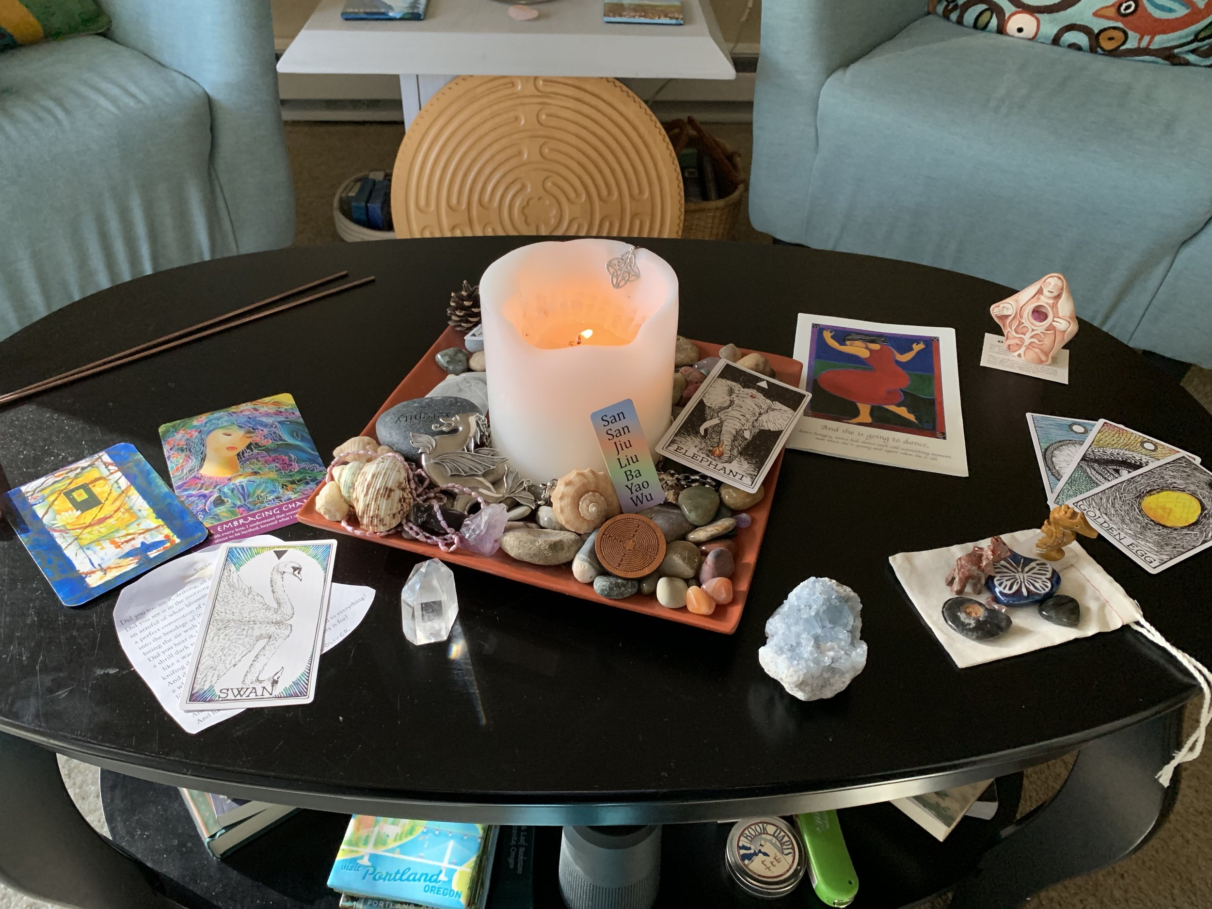 My Sojourn With Grief meditation table. It grew over time. This was close to the end of my time at home and close to leaving for Scotland, my first stop.