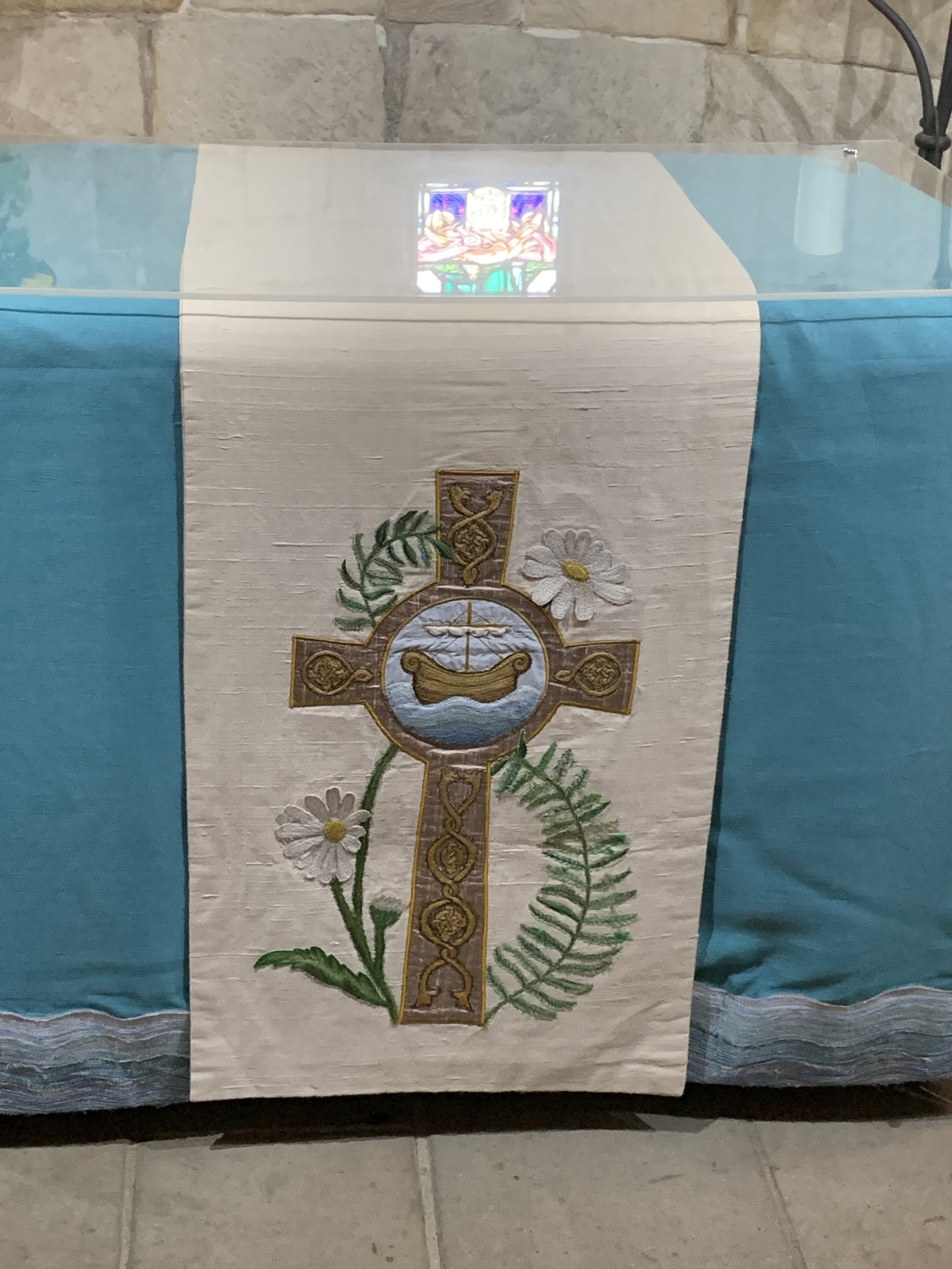 St. Margaret's Chapel altar cloth. This chapel is still used for weddings, baptisms, and other sacred rituals. photo by anne richardson