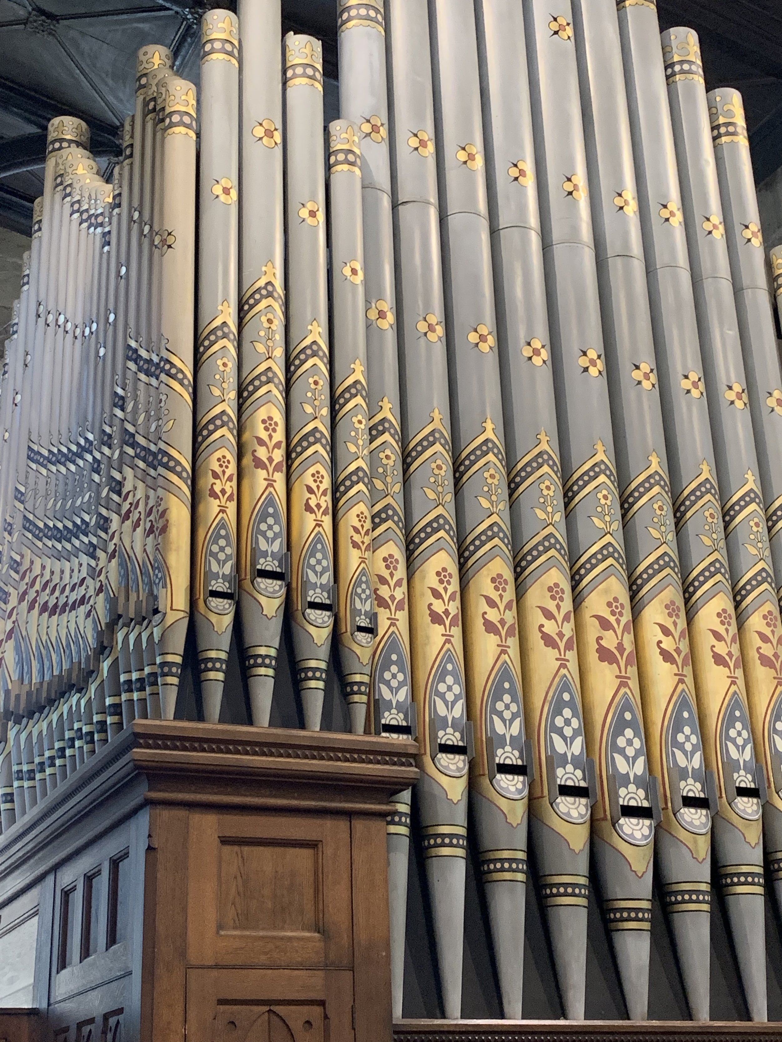 Organ pipes at St Giles' Parish Church, Wrexam, Wales. Photo by anne richardson