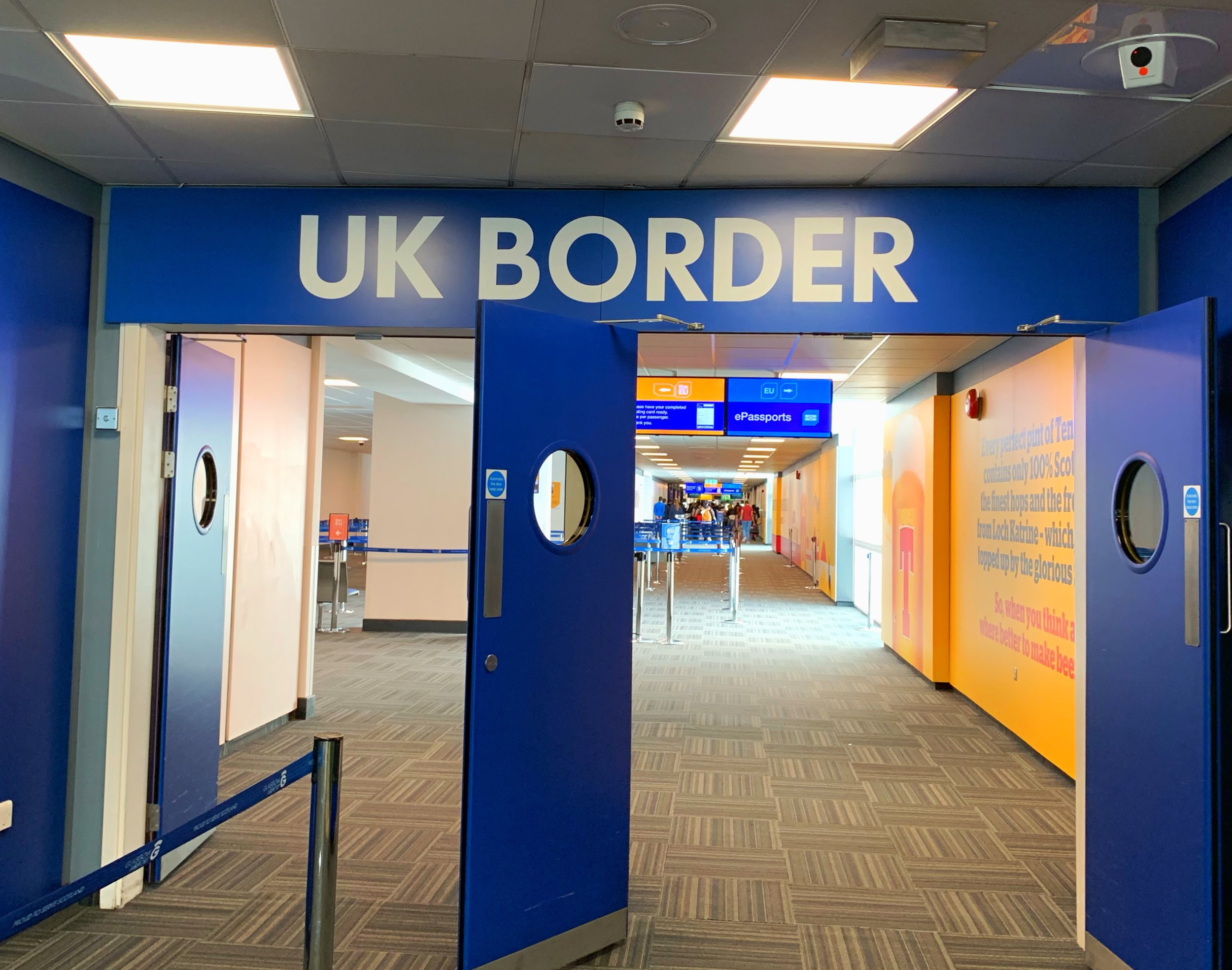 "Border crossing at Glasgow Airport, my entry point ""home."""
