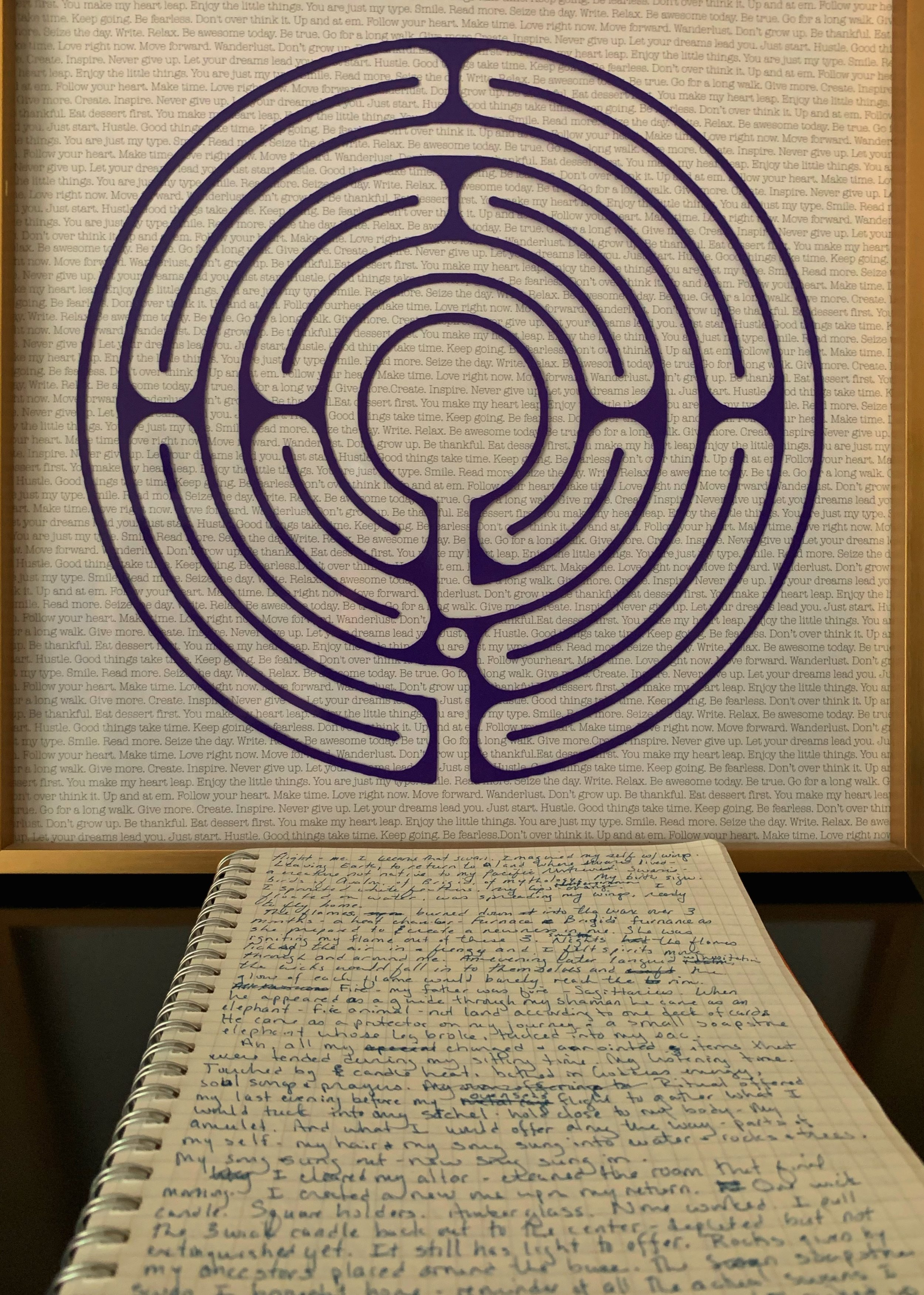 My writing raw on the page in my notebook with one of my labyrinths as a background.