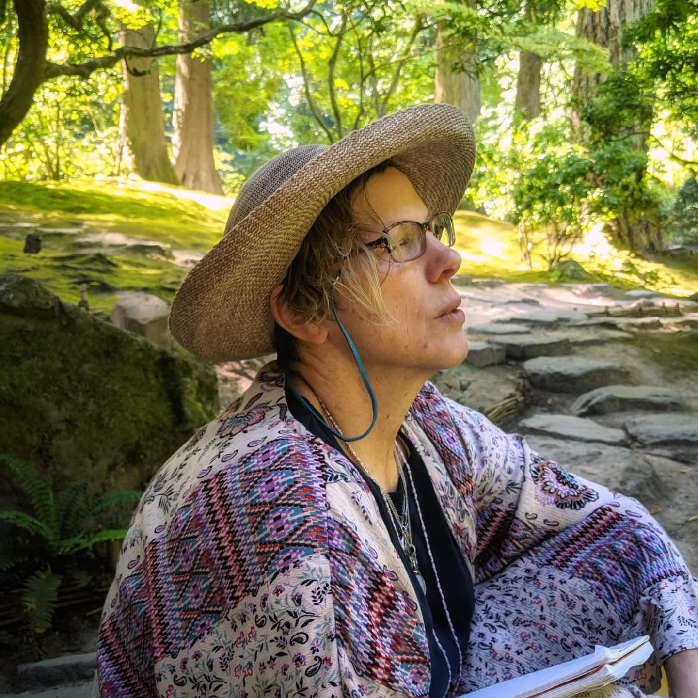 Contemplating at the Japanese Gardens in Portland, Oregon. photo by David Bardes