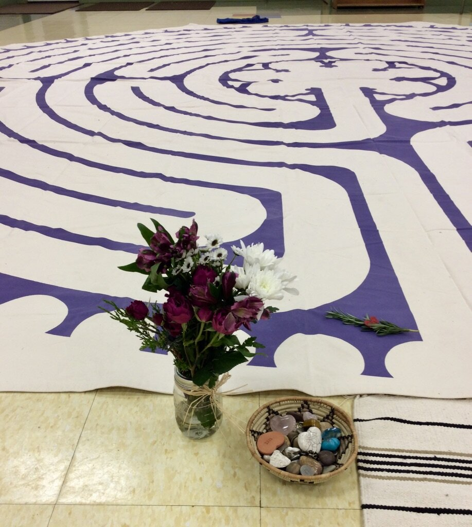 My 22' modified Modified Chartres Canvas Labyrinth inviting participants to walk with their grief and loss.