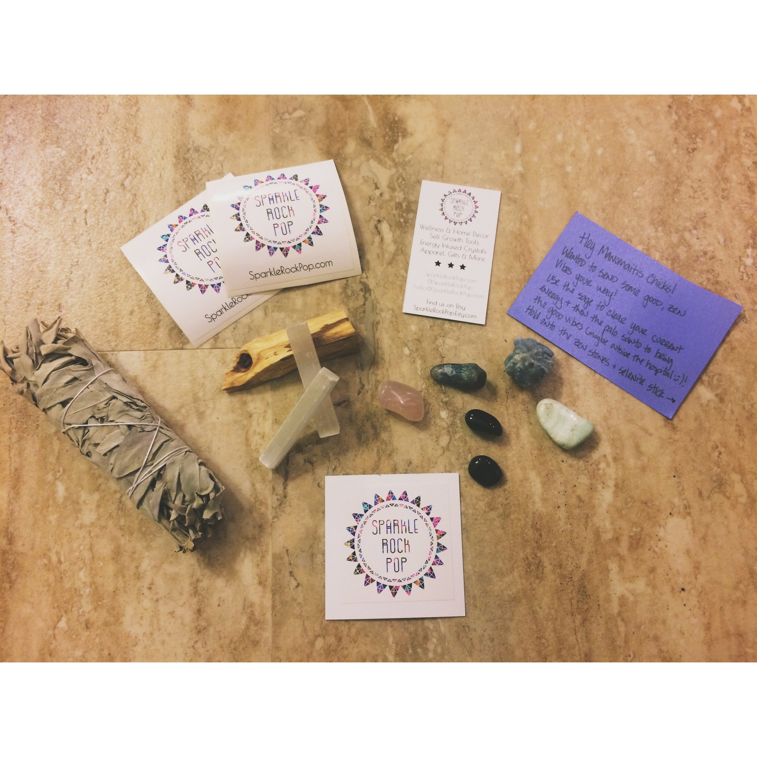 A cheer you up and good vibes package from my friend Devin and her new cool company,  Sparkle Rock Pop