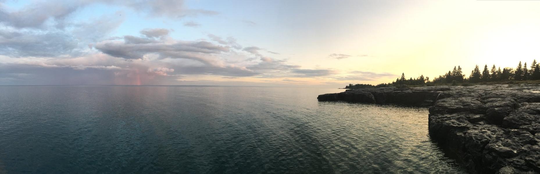 Lake Superior and a rainbow
