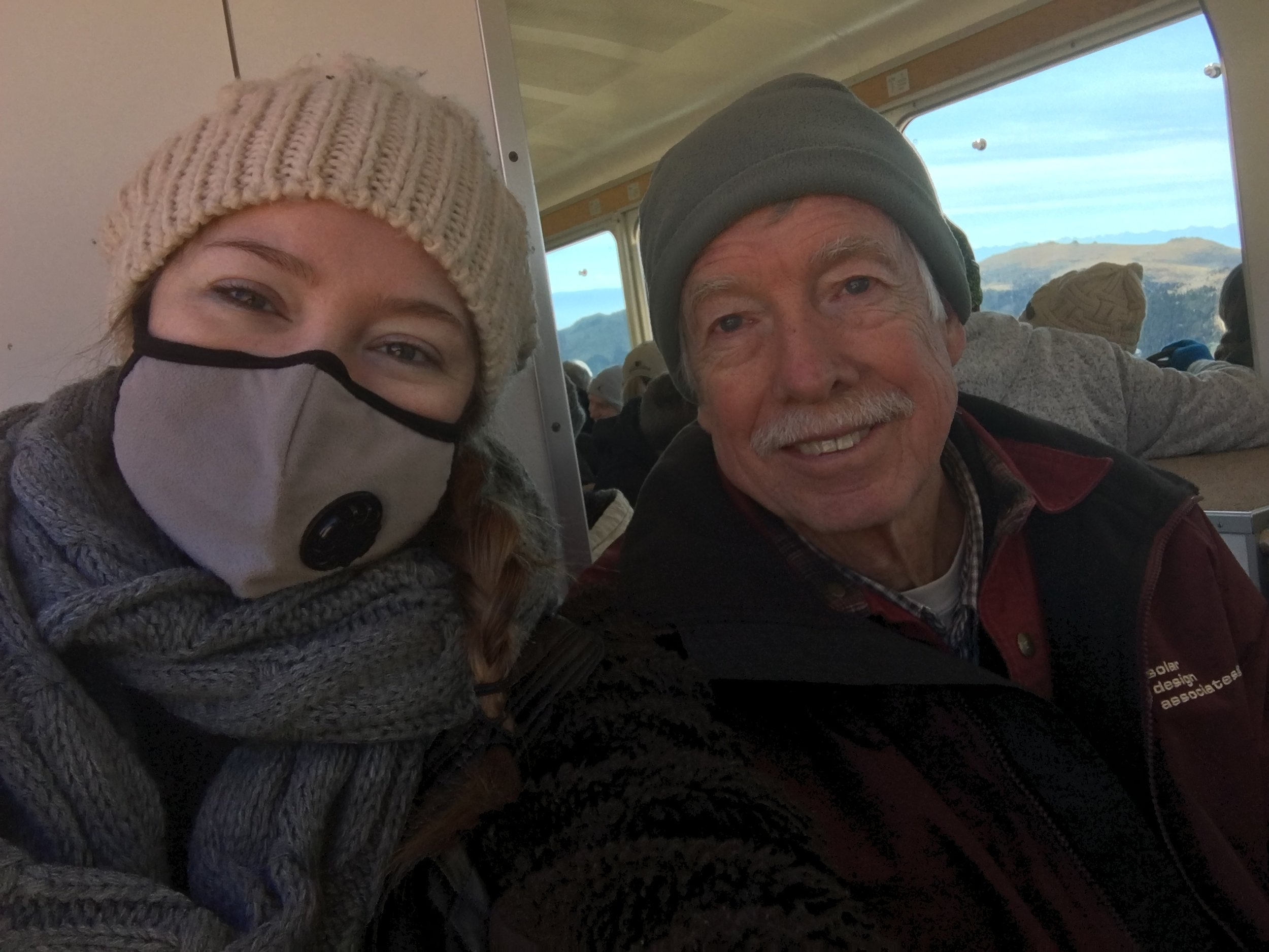 My dad and I on the cog rail up to Pikes peak
