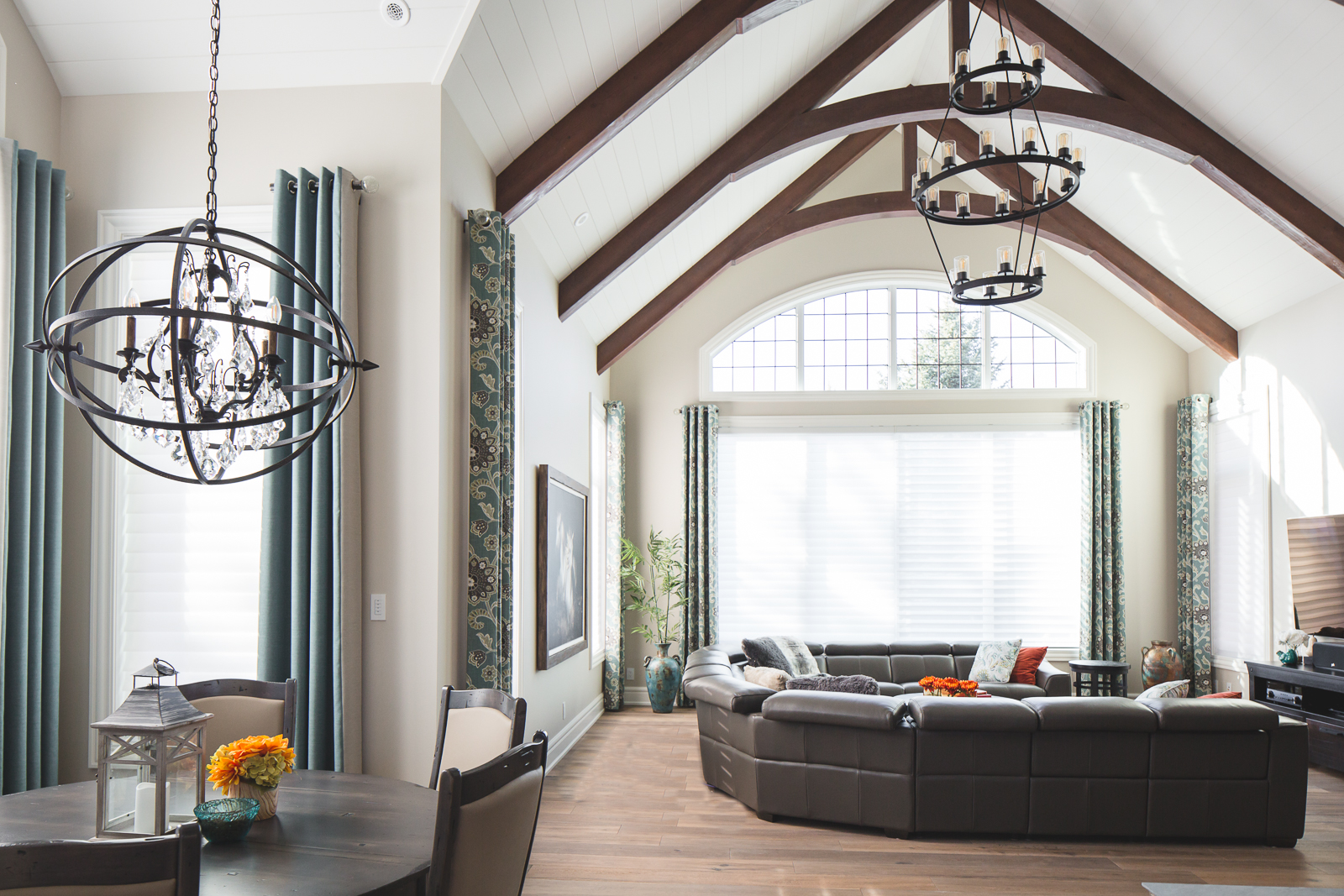 Wood beams in vaulted ceiling