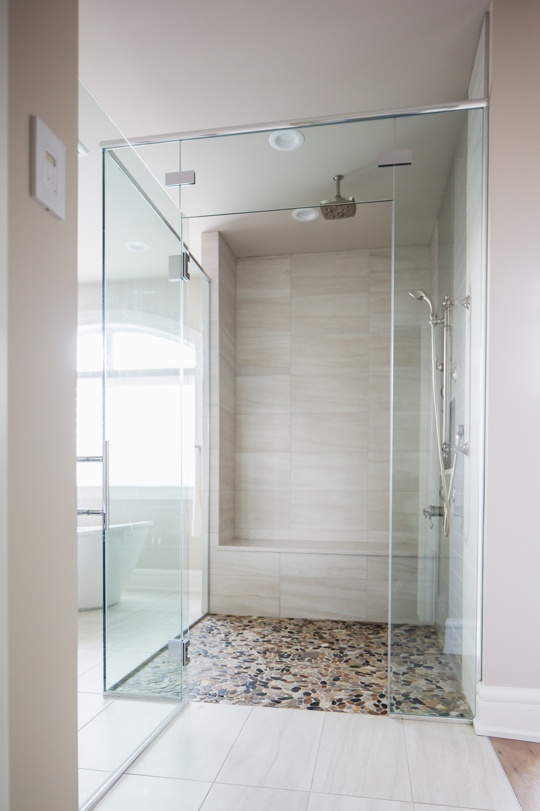 large walk-in custom shower