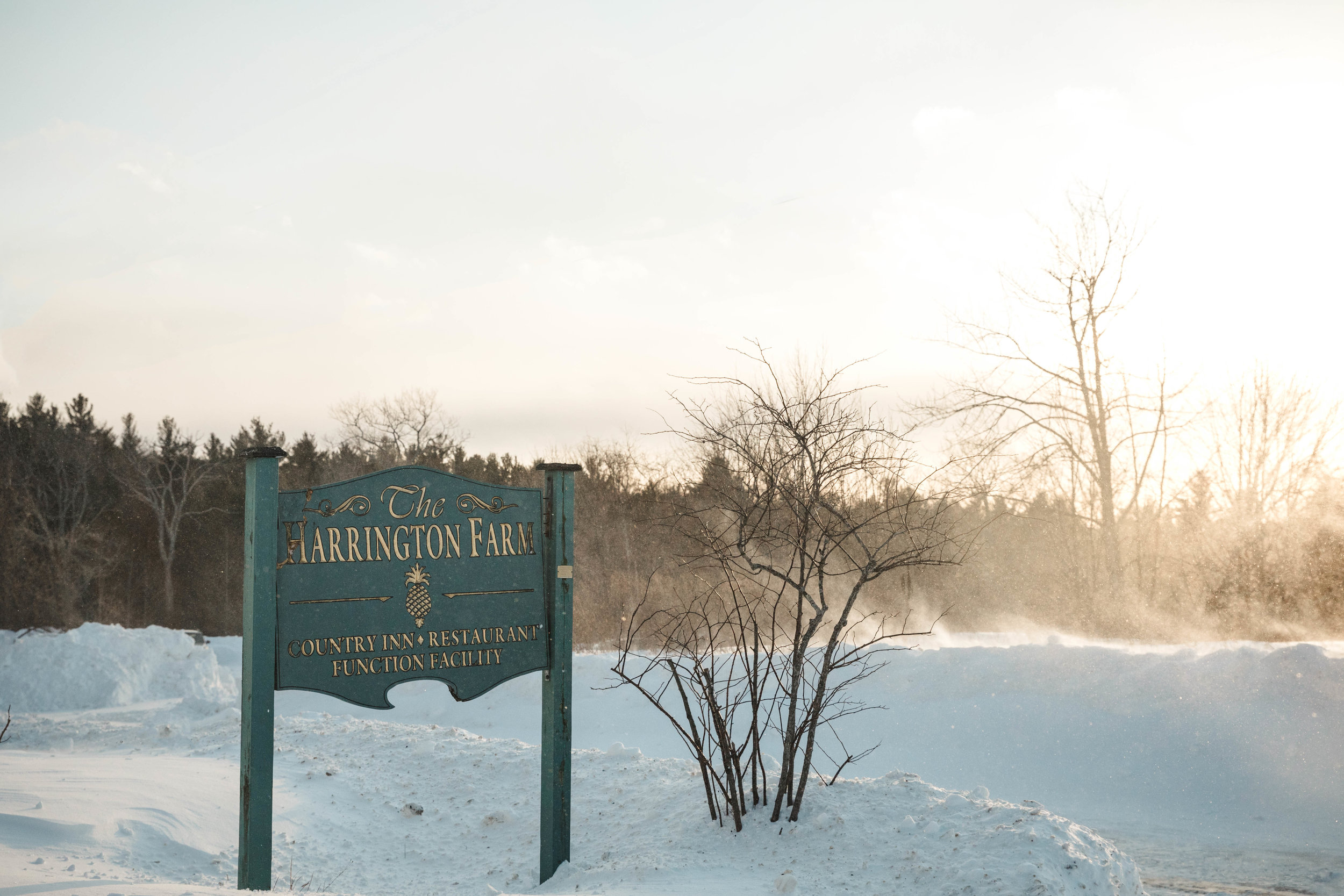 Harrington Farm sign in snow