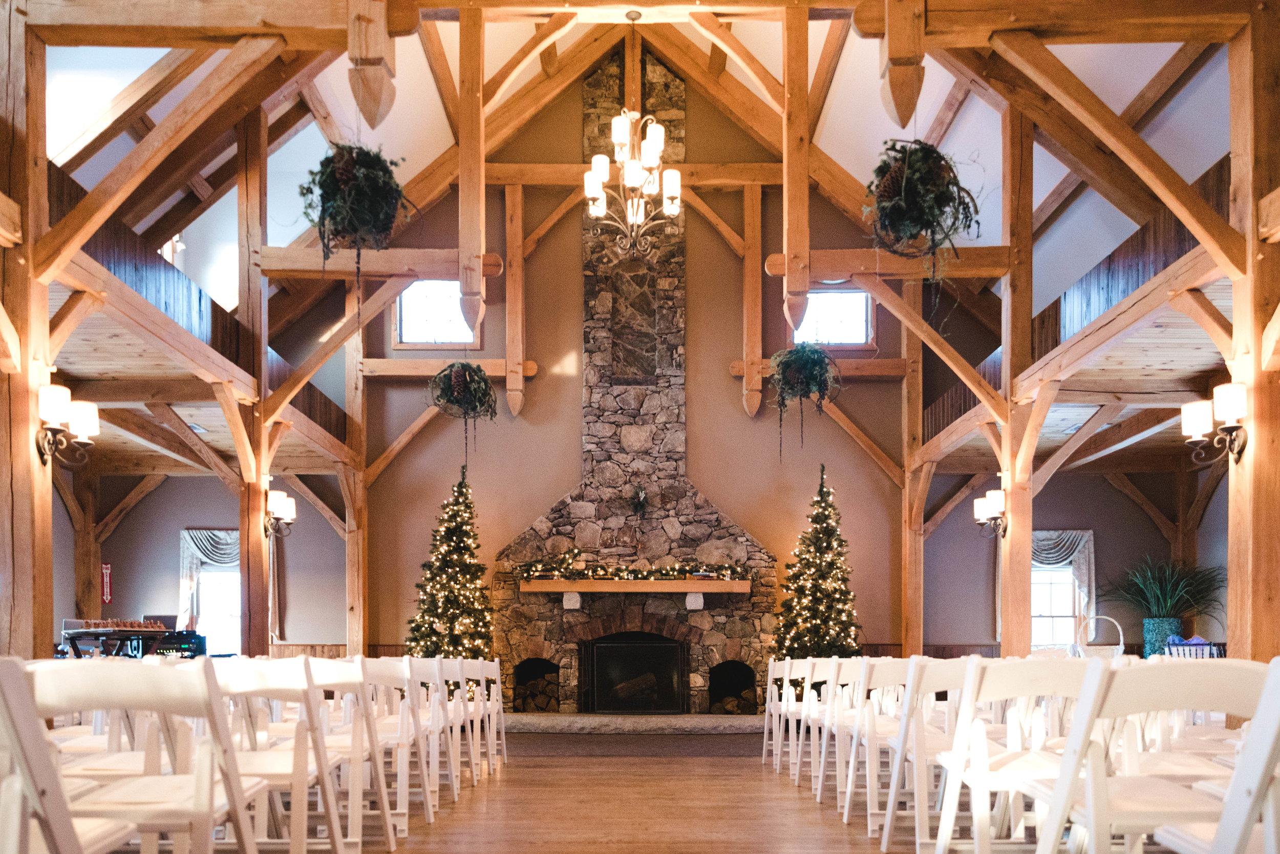 Harrington Farm fireplace set for winter wedding