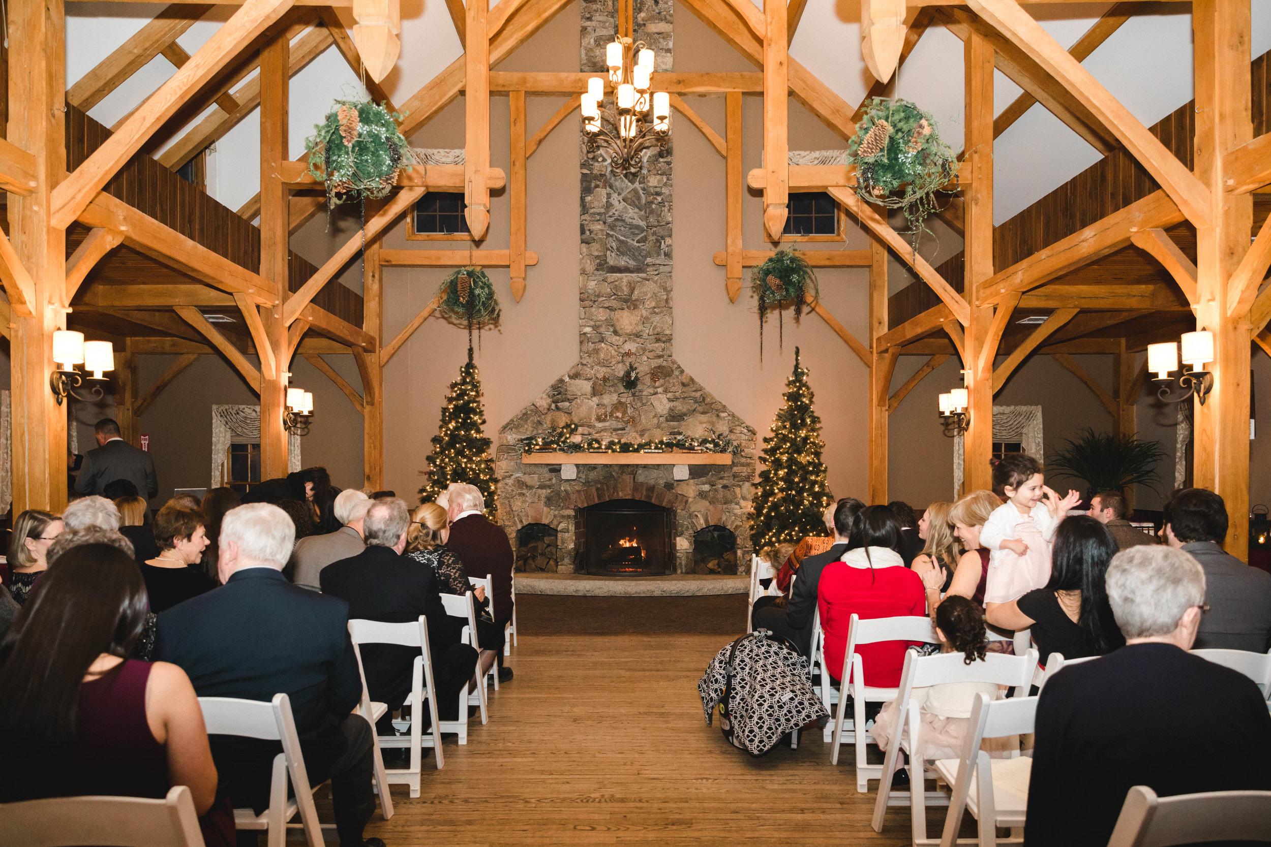guests at Harrington Farm winter wedding ceremony