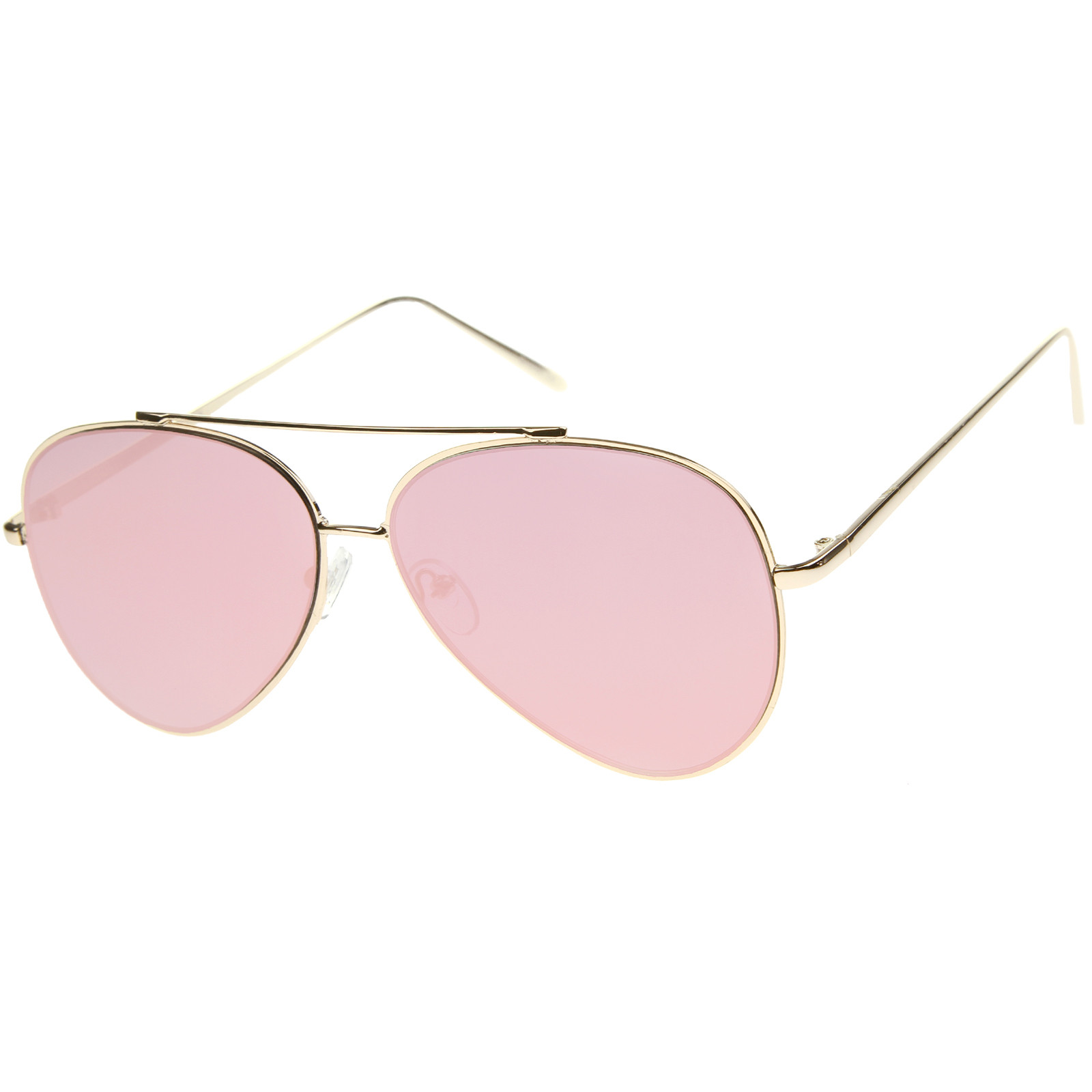 Sunglass.la MOD FASHION TEARDROP RIMLESS MIRROR FLAT LENS METAL FRAME AVIATOR SUNGLASSES 58MM