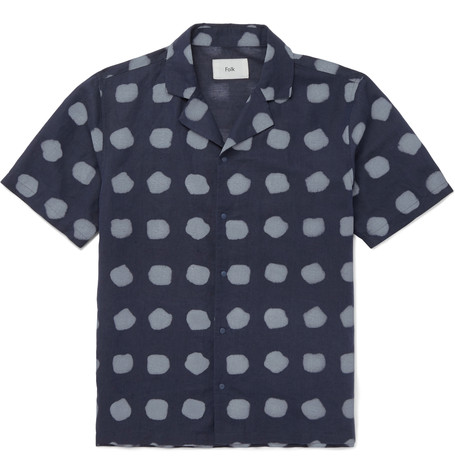 FOLK Camp-Collar Printed Linen And Cotton-Blend Shirt