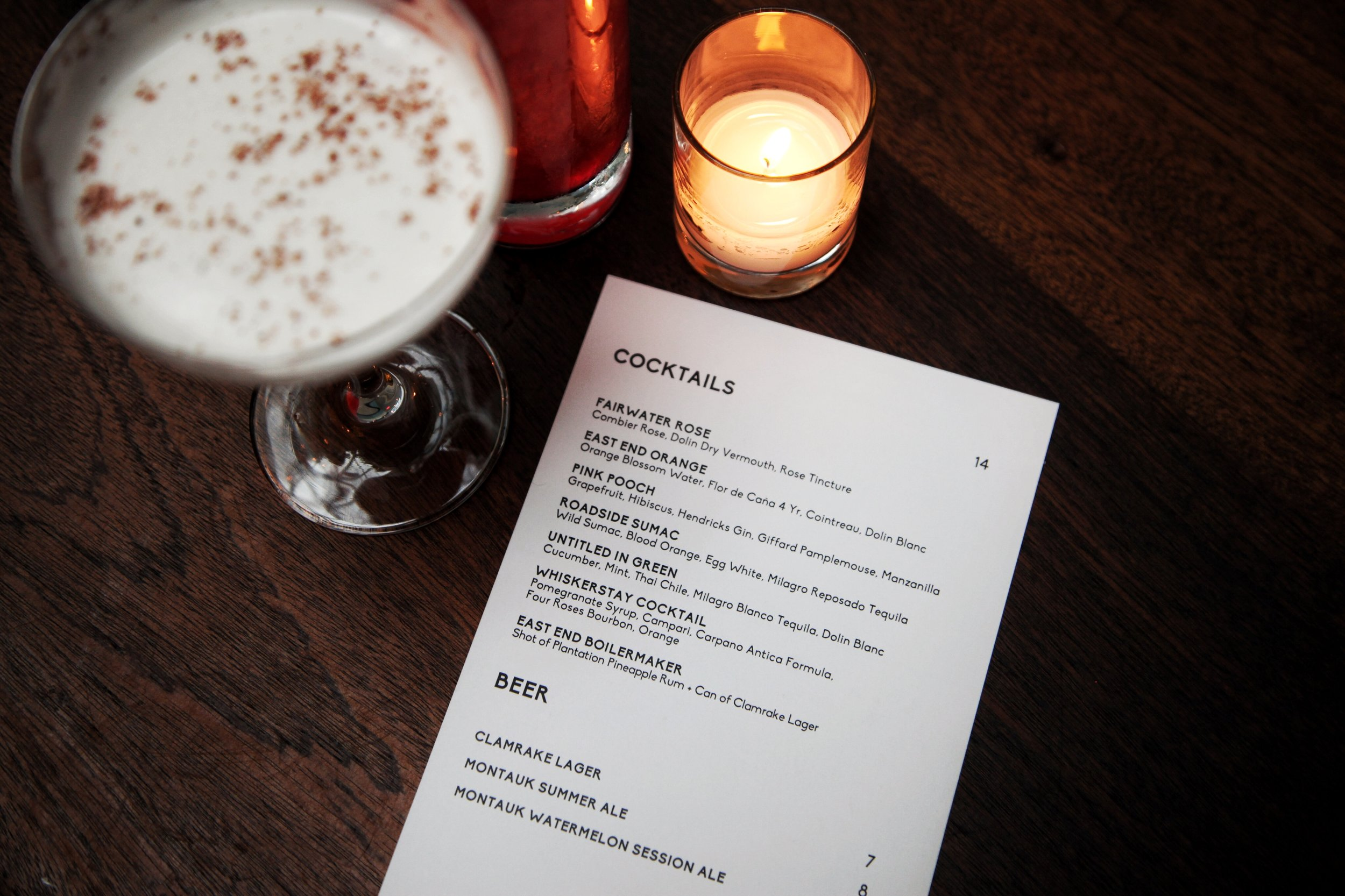 out east cocktail menu