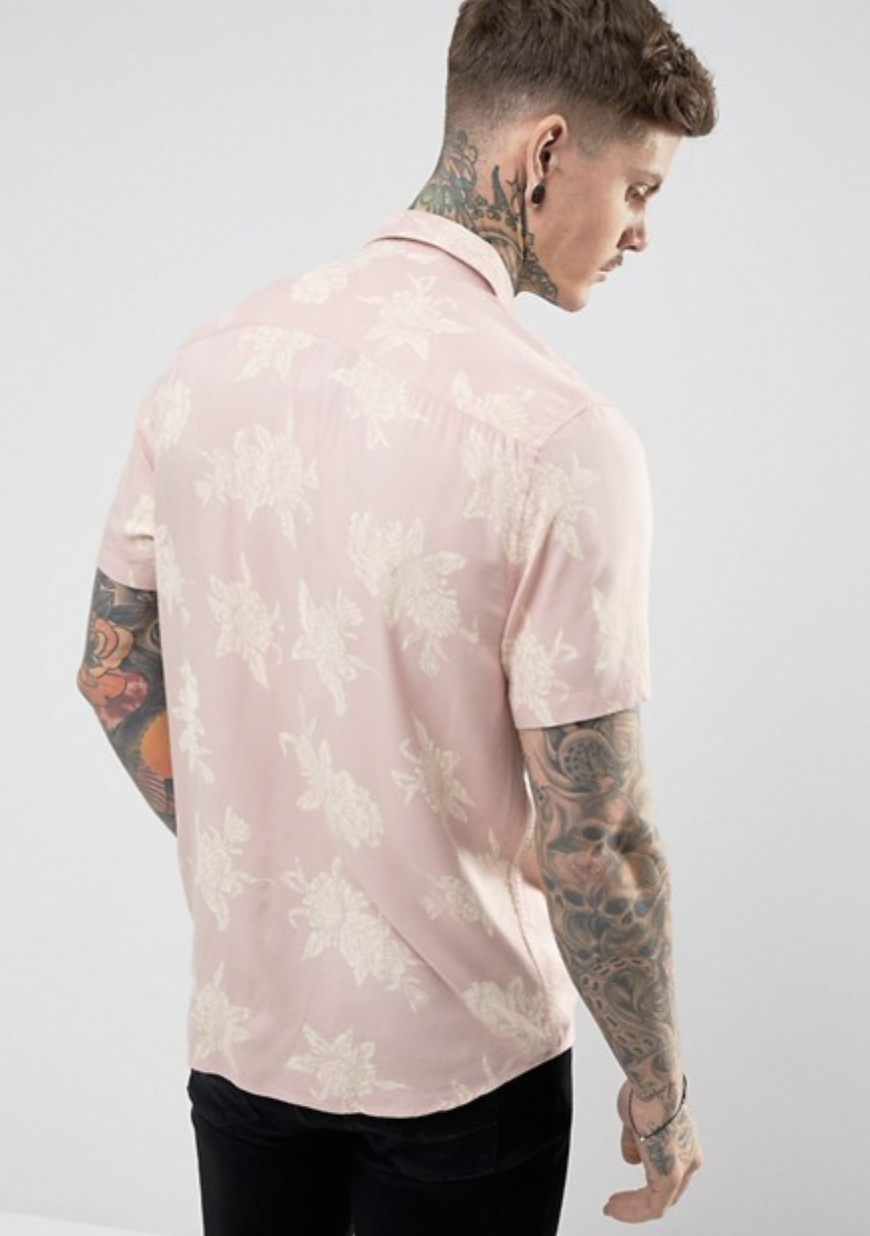ASOS Regular Fit Viscose Floral Print Shirt In Pink