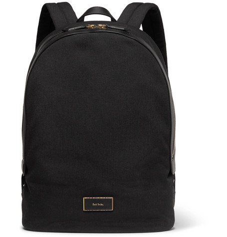PAUL SMITH Leather-Trimmed Canvas Backpack
