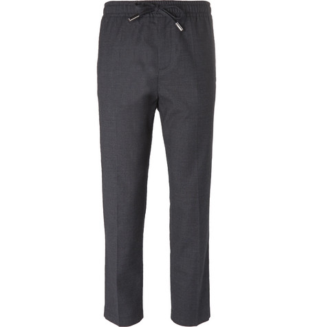 MR P. Slim-Fit Stretch Wool And Cotton-Blend Drawstring Trousers