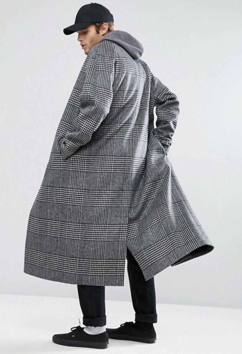 ASOS Wool Mix Long Lined Overcoat In Prince of Wales Check
